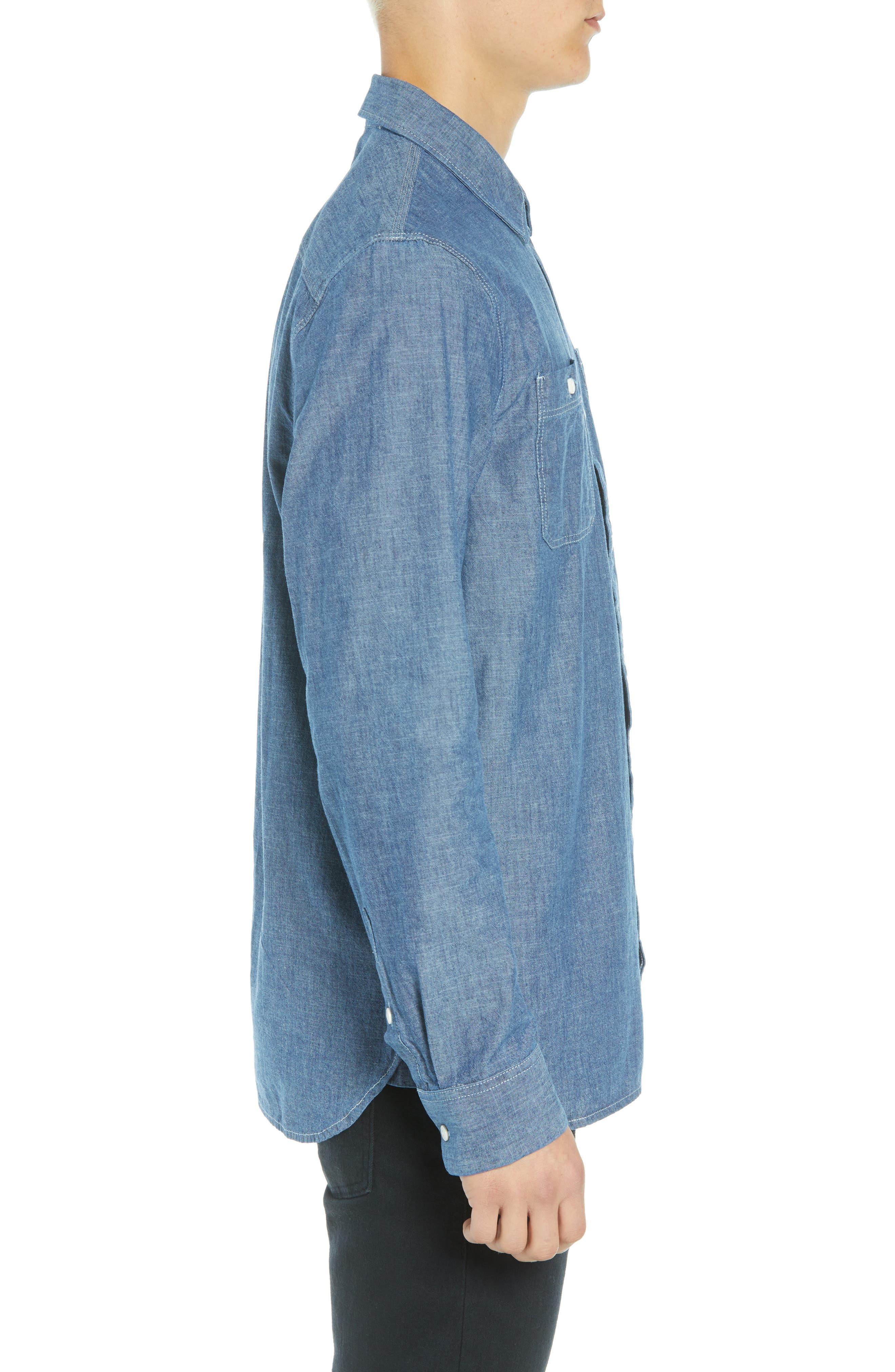 Carlow Chambray Shirt,                             Alternate thumbnail 4, color,                             INDIGO CHAMBRAY