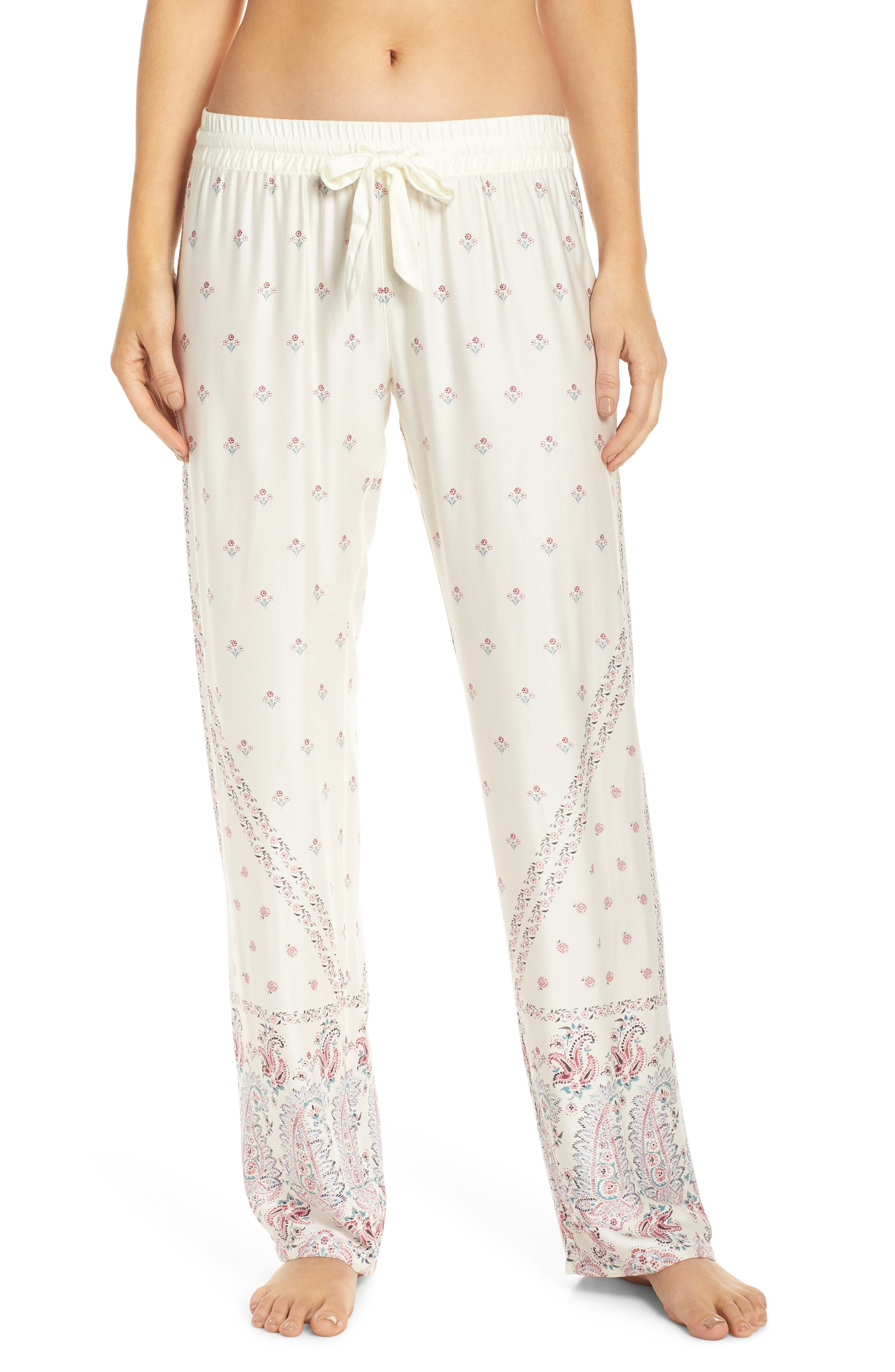 Paisley Park Pajama Pants, Main, color, ANTIQUE WHITE