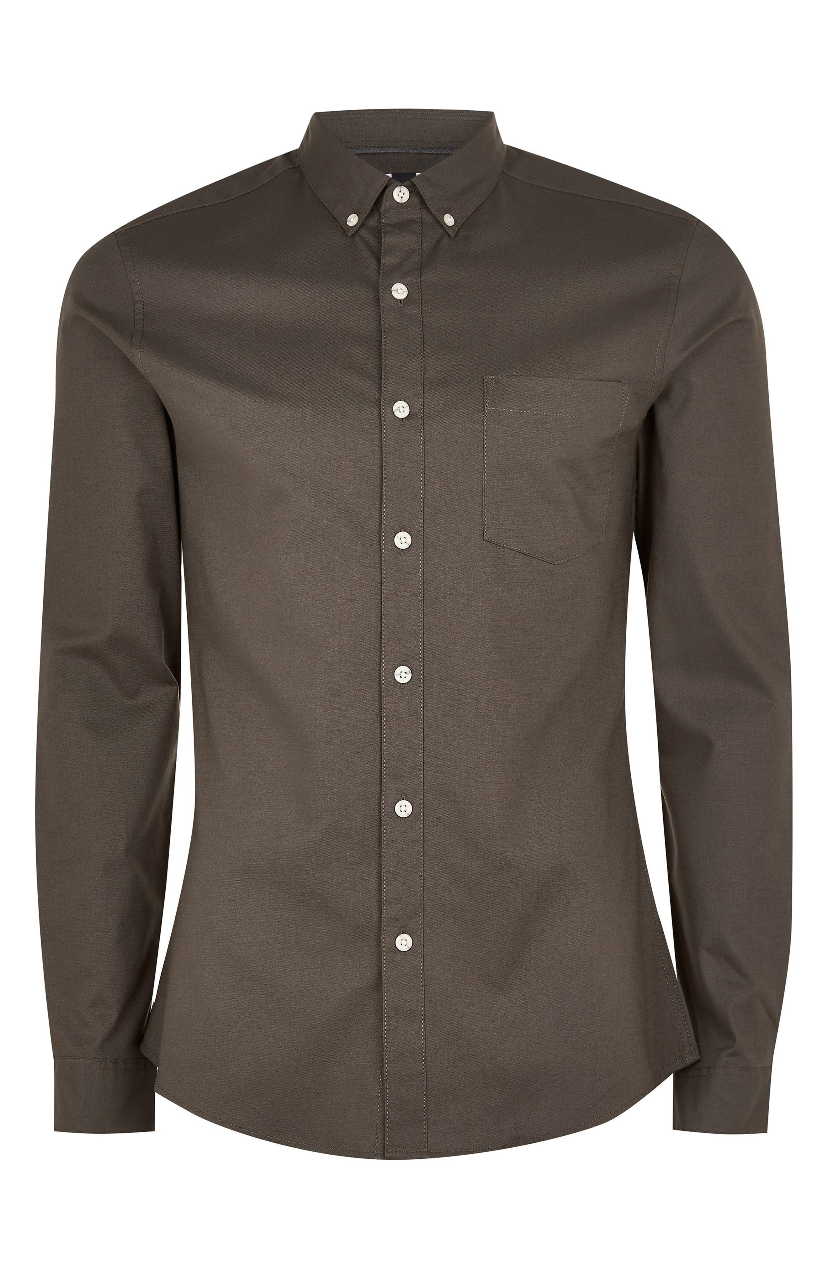 Classic Fit Oxford Shirt,                             Alternate thumbnail 4, color,                             GREY