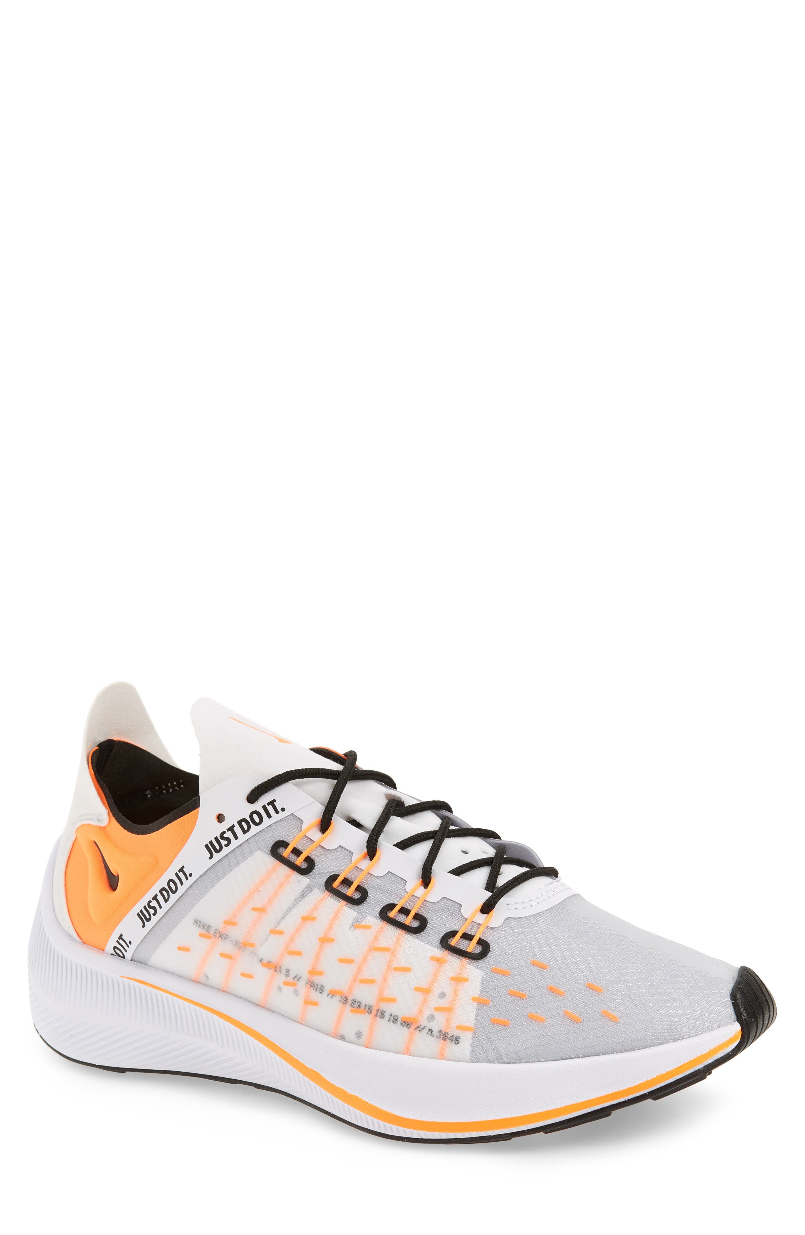 EXP-X14 Just Do It Sneaker,                             Main thumbnail 1, color,                             WHITE/ TOTAL ORANGE/ BLACK