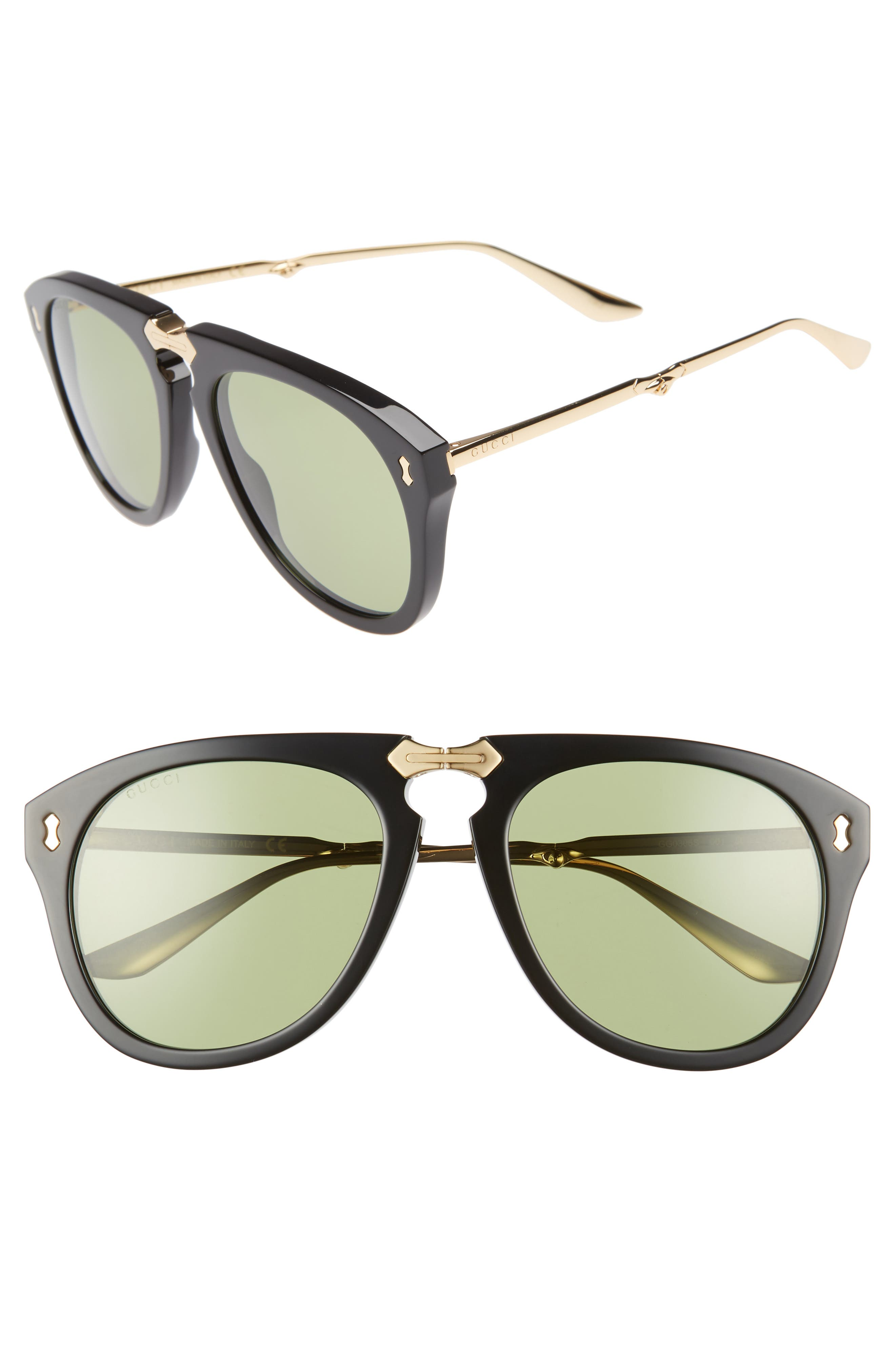 56mm Aviator Sunglasses,                             Main thumbnail 1, color,                             BLACK/ GOLD/ GREEN