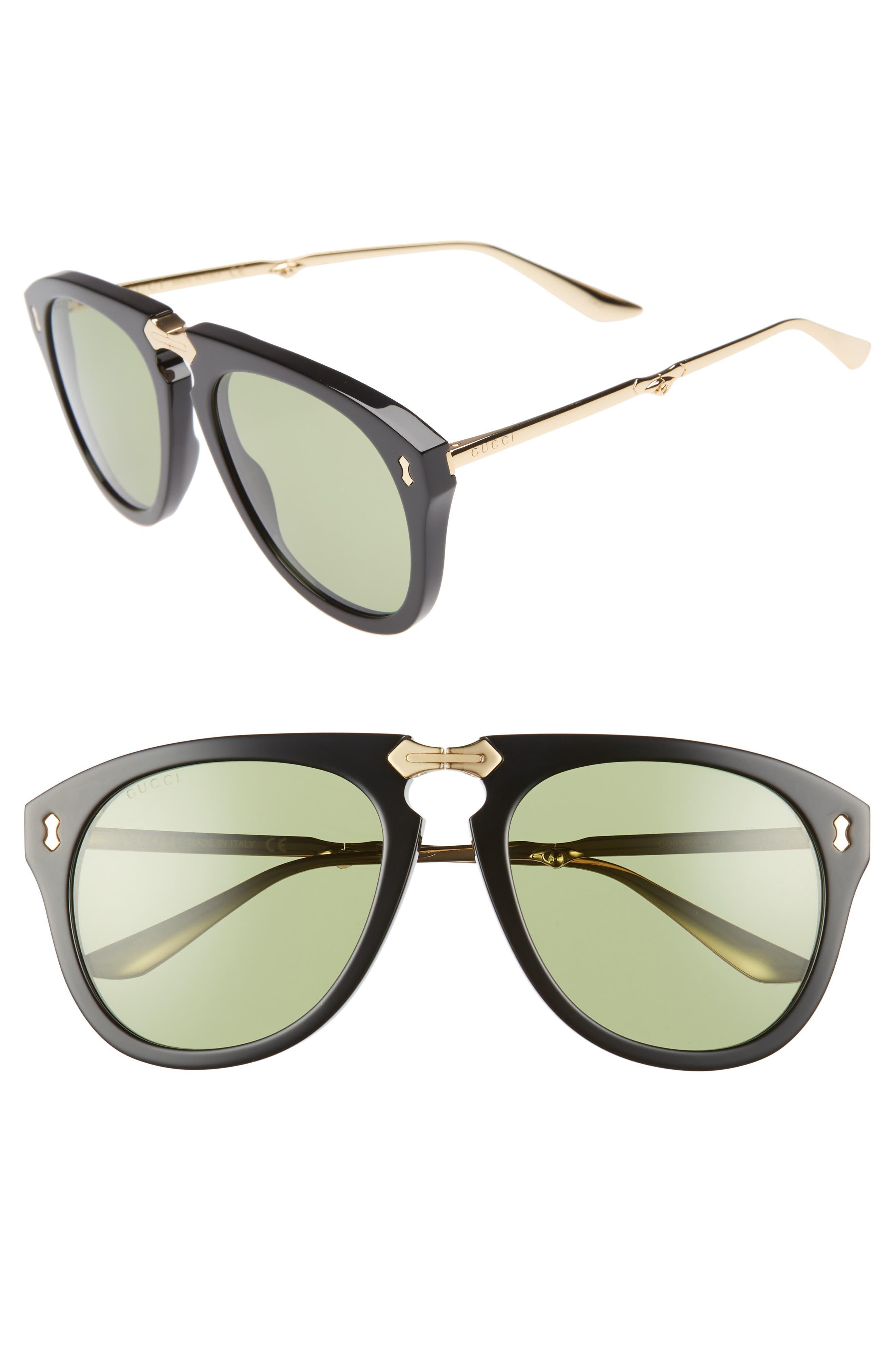 56mm Aviator Sunglasses,                         Main,                         color, BLACK/ GOLD/ GREEN