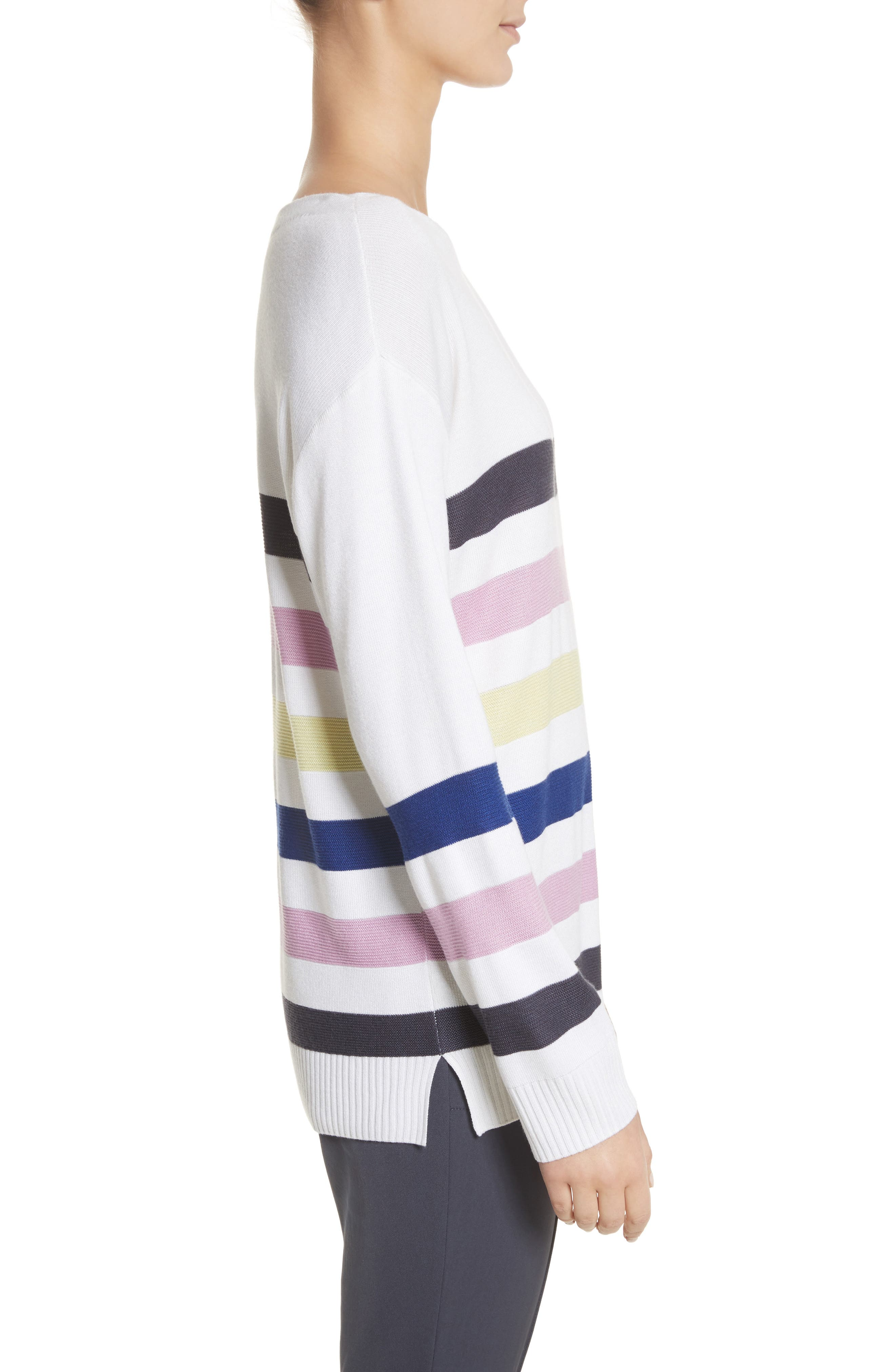 Links Stripe Knit Sweater,                             Alternate thumbnail 3, color,                             100