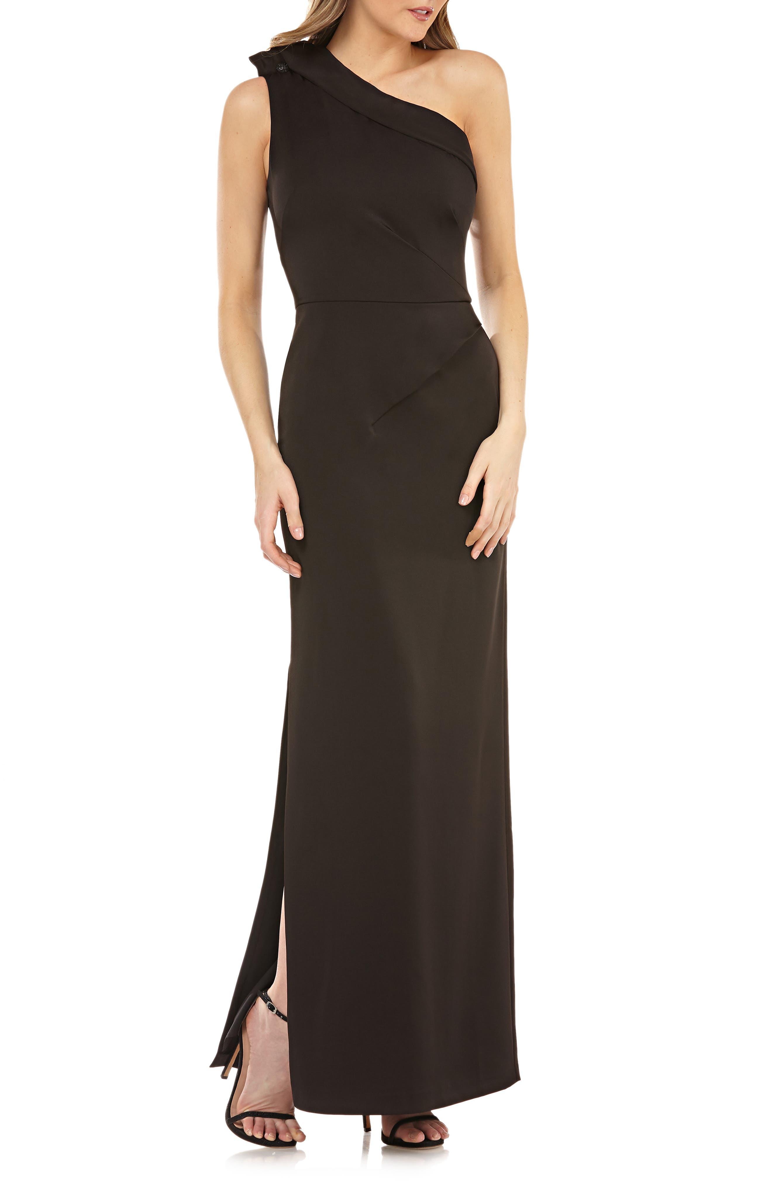 KAY UNGER Jeweled One-Shoulder Gown W/ Sunburst Pleats in Black