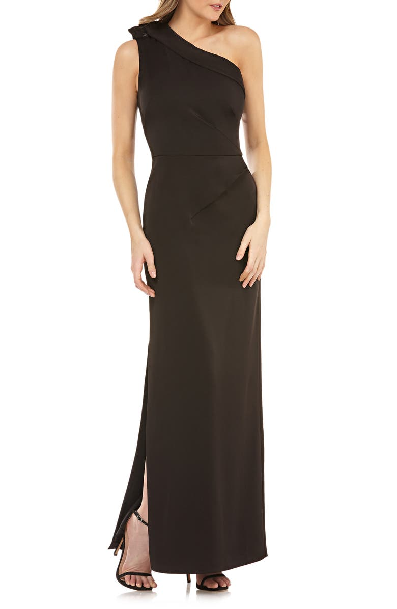 Kay Unger ONE-SHOULDER COLUMN GOWN