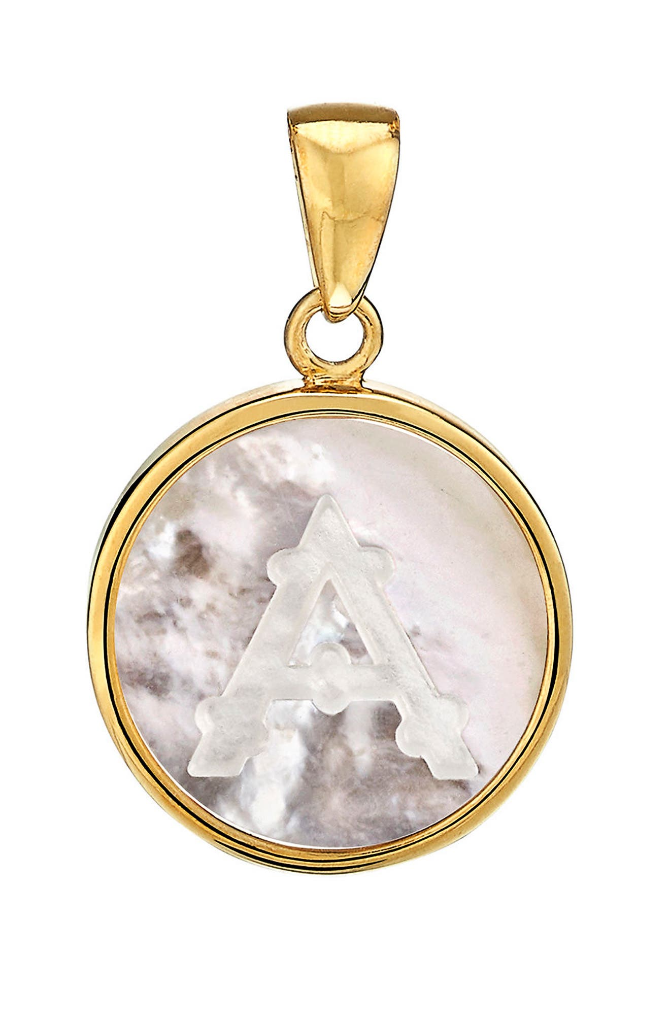 Mother-of Pearl Initial Charm,                             Main thumbnail 1, color,                             A