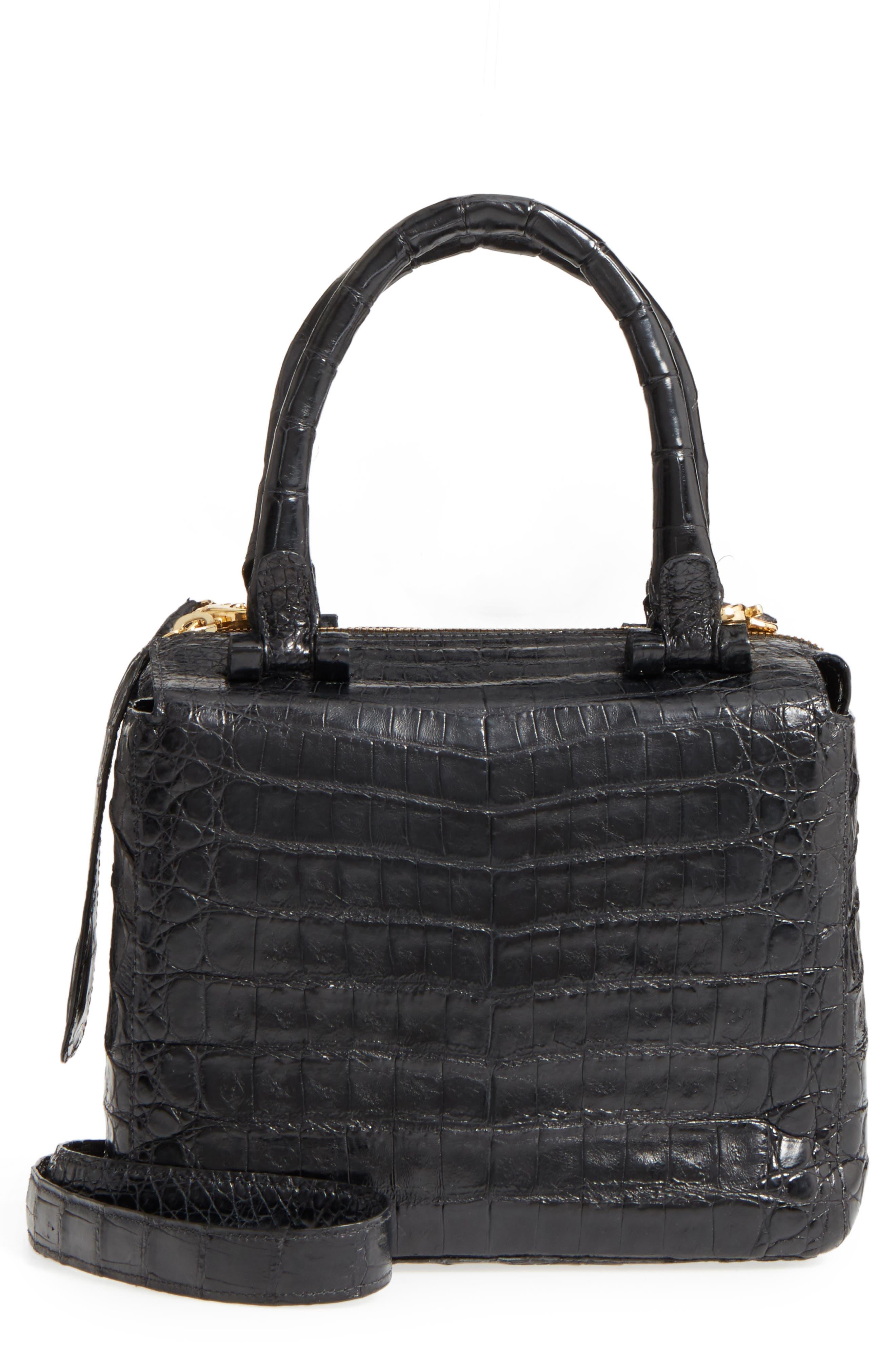 Small Cube Genuine Crocodile Crossbody Bag,                         Main,                         color,