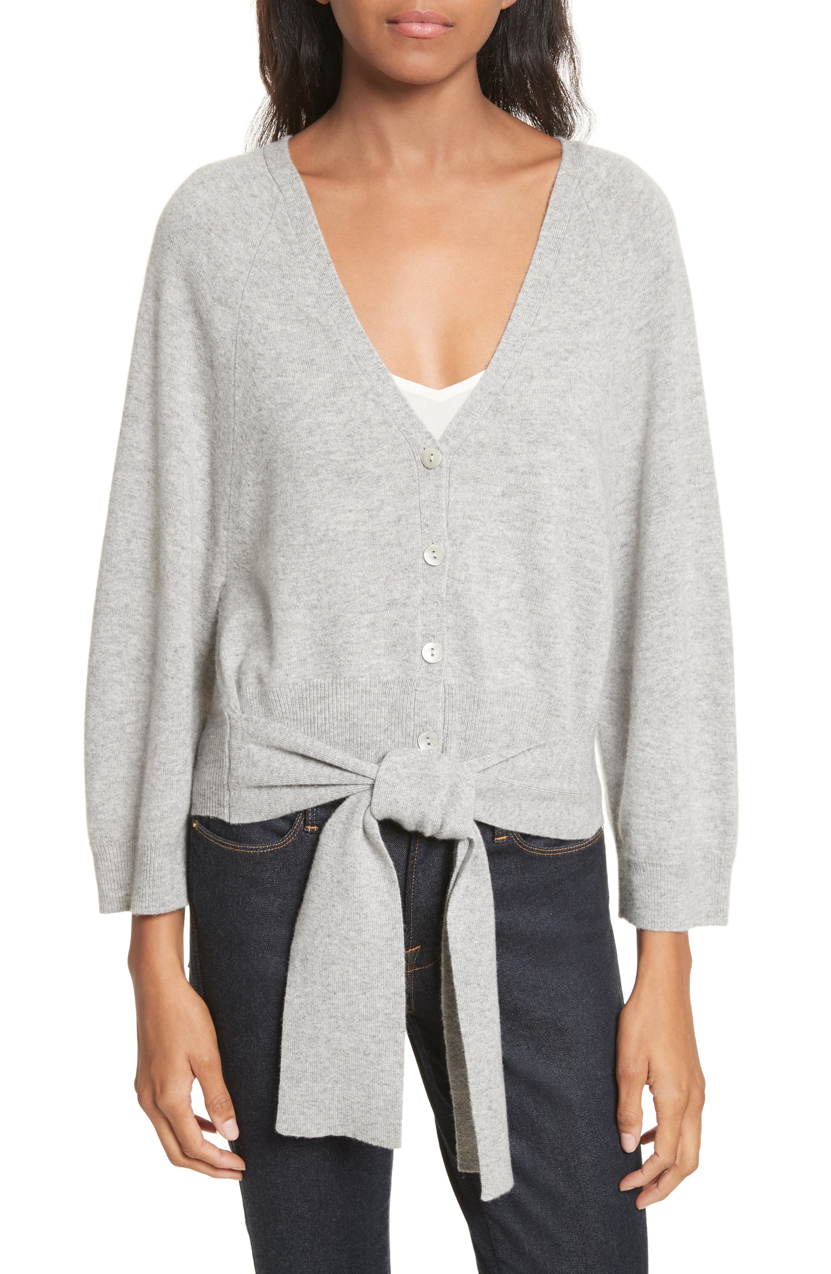 Wide Sleeve Tie Front Button Cardigan,                             Main thumbnail 1, color,                             050