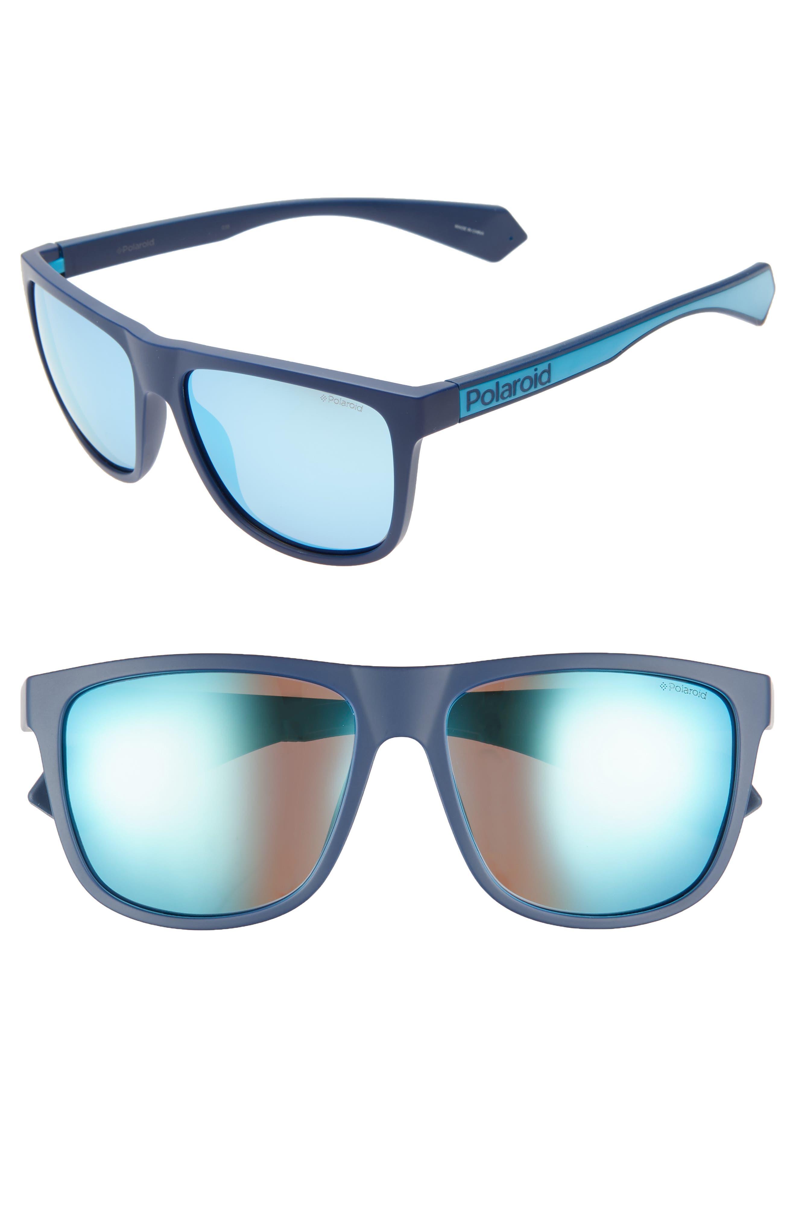 Plastic Core 57mm Polarized Sunglasses,                         Main,                         color, BLUE