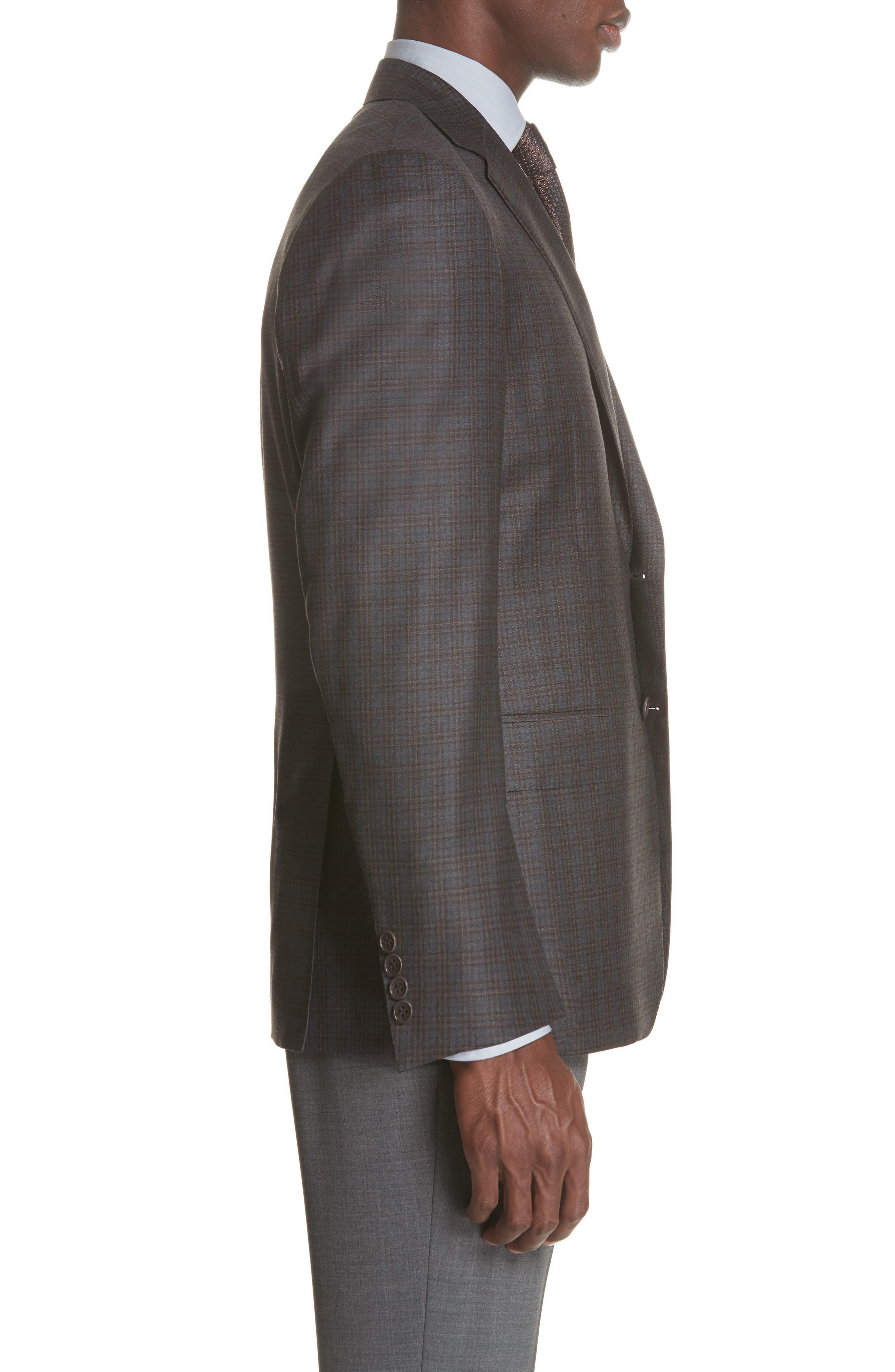 Classic Fit Plaid Wool Sport Coat,                             Alternate thumbnail 3, color,                             GREY/ BROWN