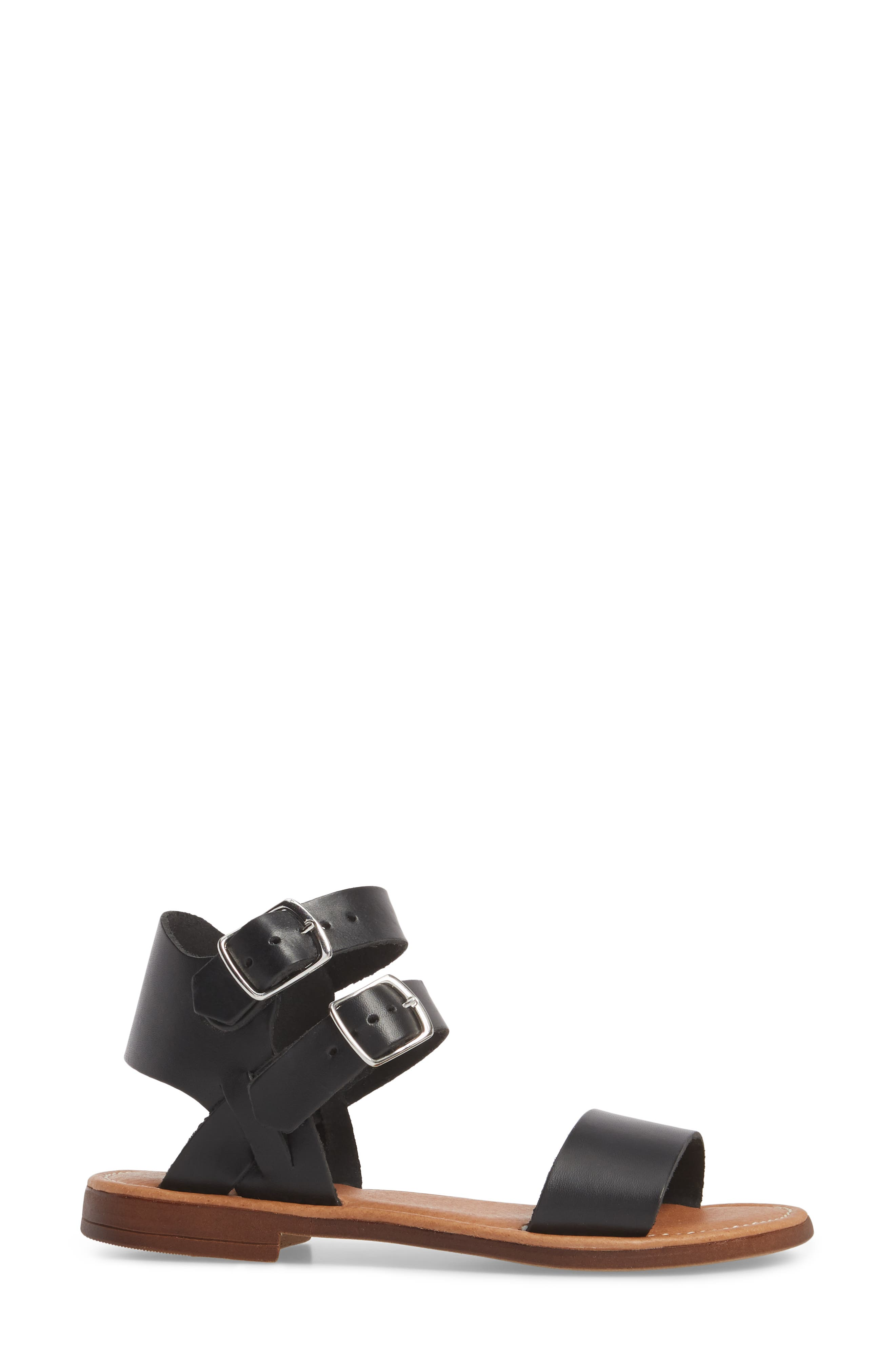 Ida Mid Top Sandal,                             Alternate thumbnail 3, color,                             BLACK VACCHETTA LEATHER