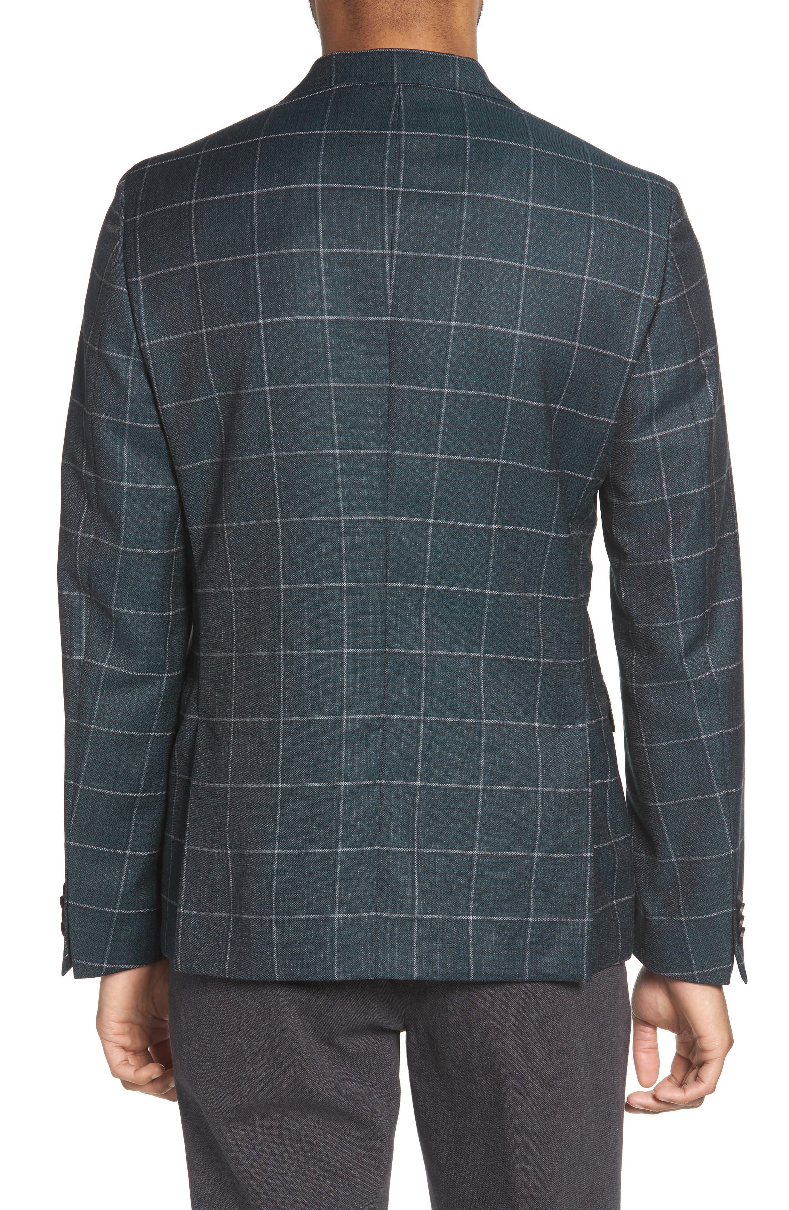 Nobis Trim Fit Windowpane Wool Sport Coat,                             Alternate thumbnail 2, color,                             MEDIUM GREEN