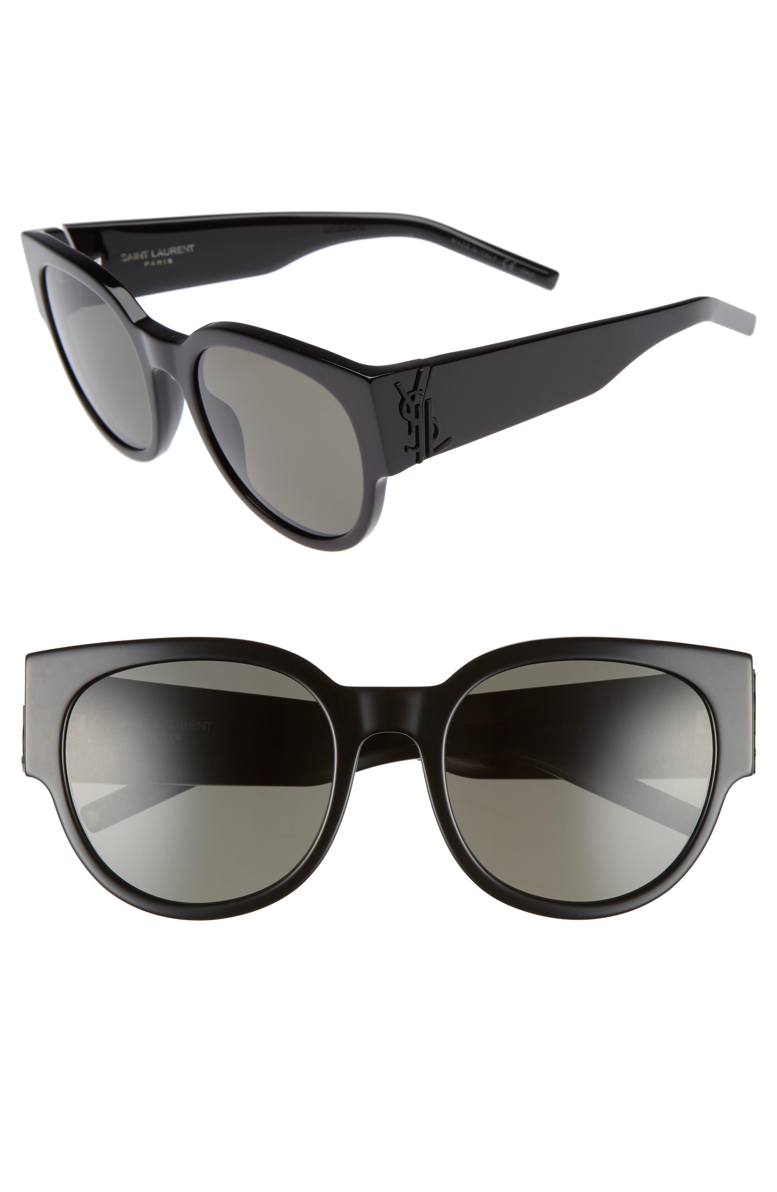 SL M19 54mm Cat Eye Sunglasses,                             Main thumbnail 1, color,                             BLACK