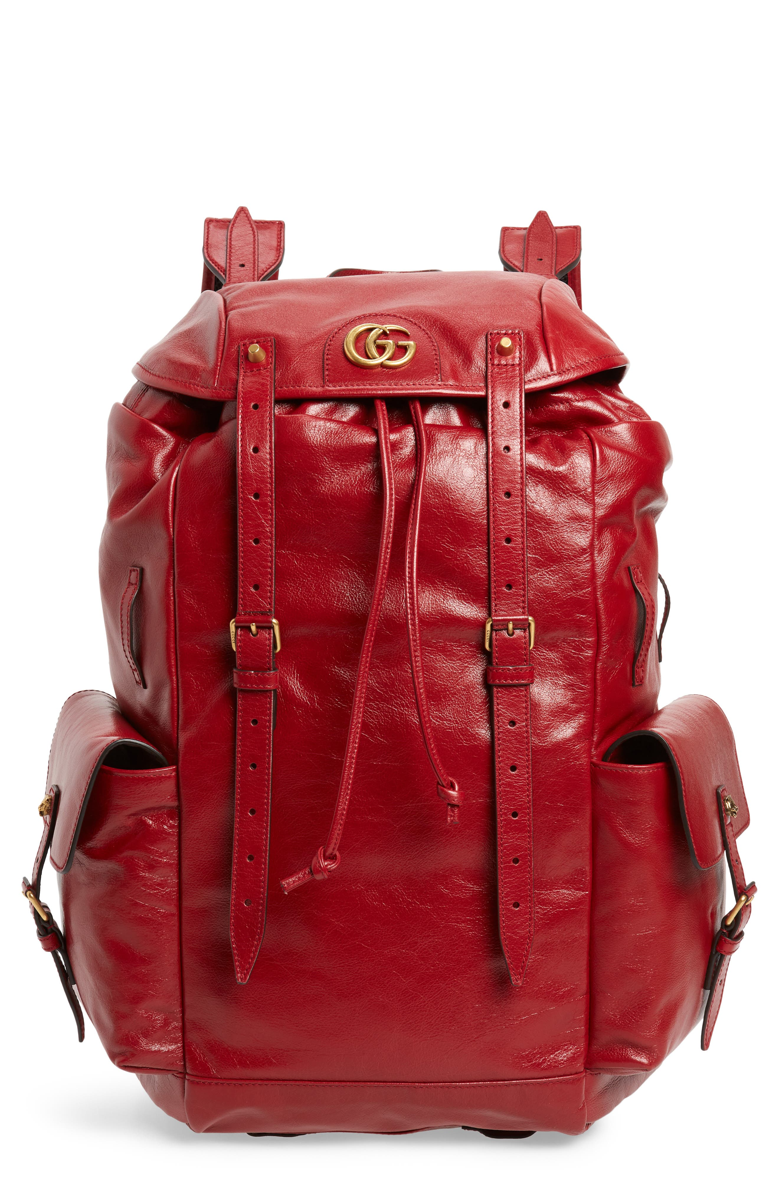 Piuma Leather Travel Backpack,                         Main,                         color, PINK