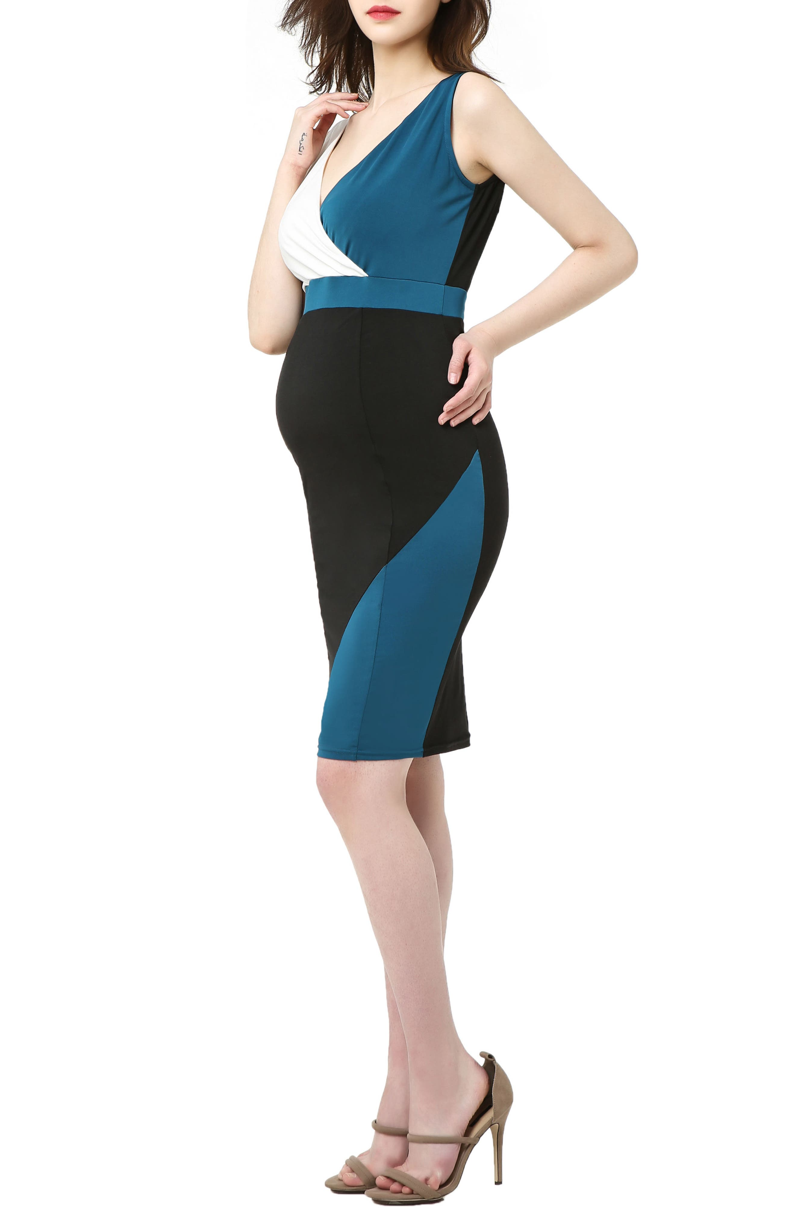 Sophia Colorblock Body-Con Maternity Dress,                             Alternate thumbnail 3, color,                             BLACK/ DEEP SEA