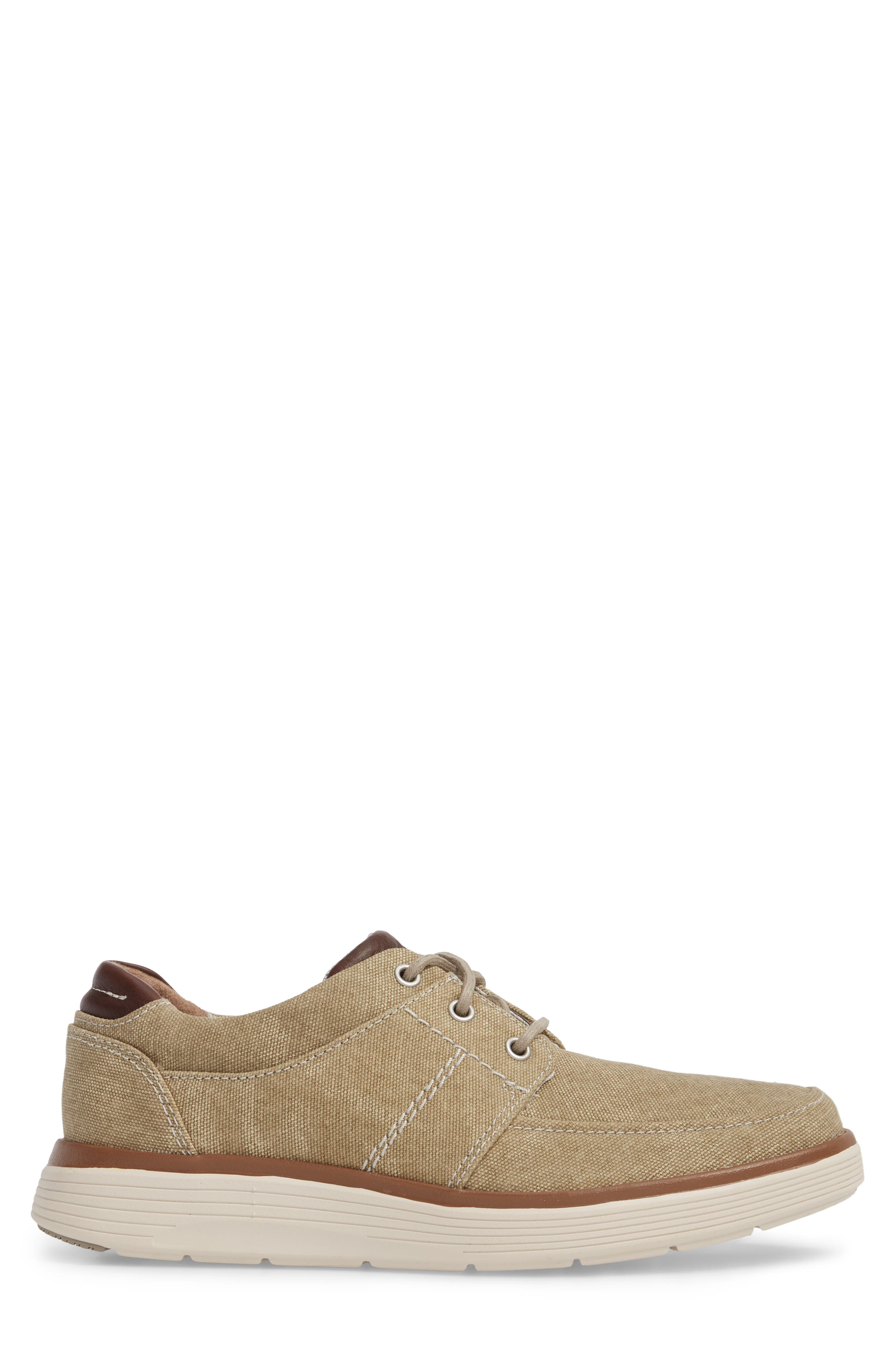 Clarks<sup>®</sup> Unabode Form Sneaker,                             Alternate thumbnail 3, color,                             SAND FABRIC