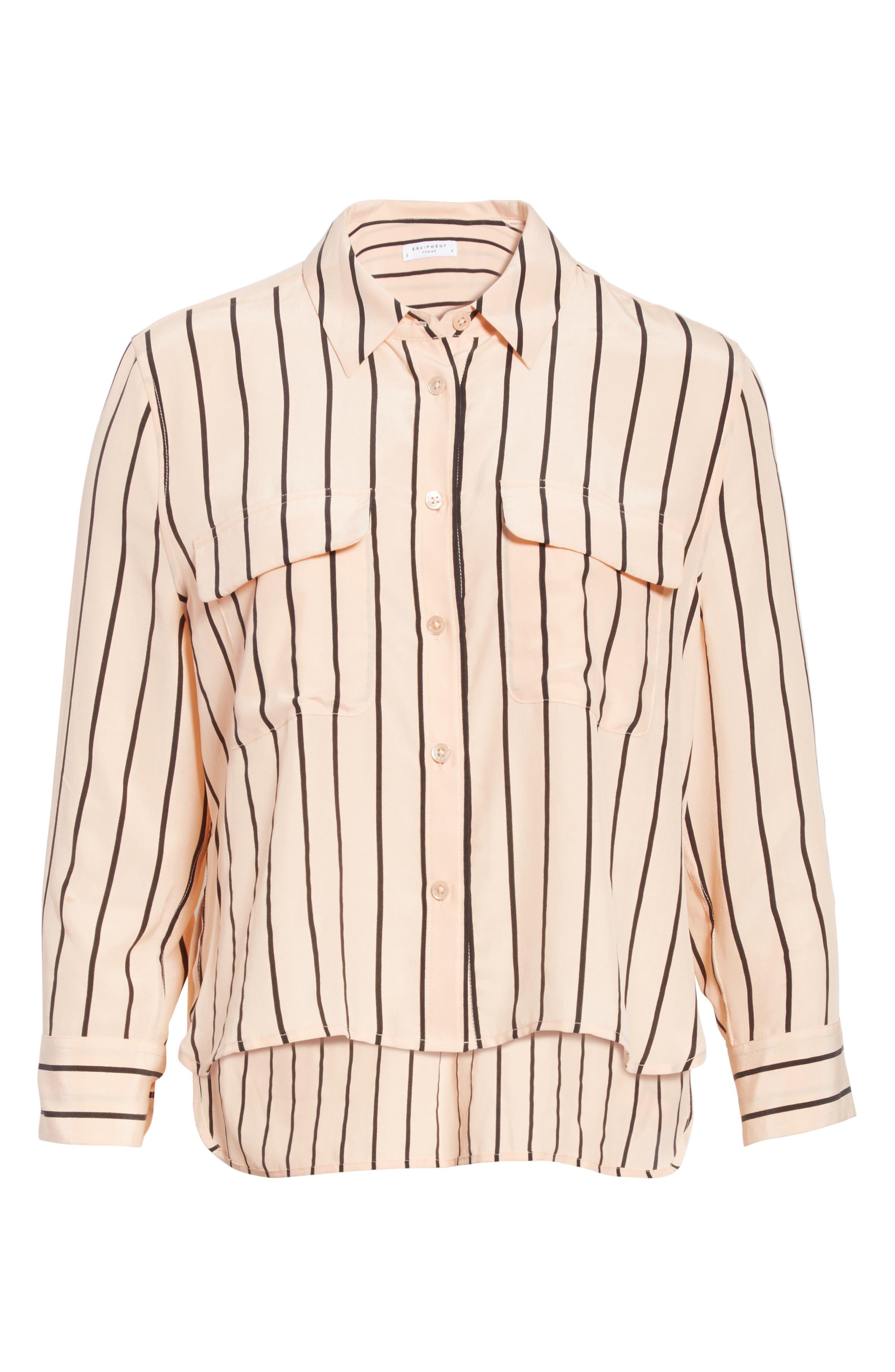 Signature Crop Stripe Silk Shirt,                             Alternate thumbnail 6, color,                             282