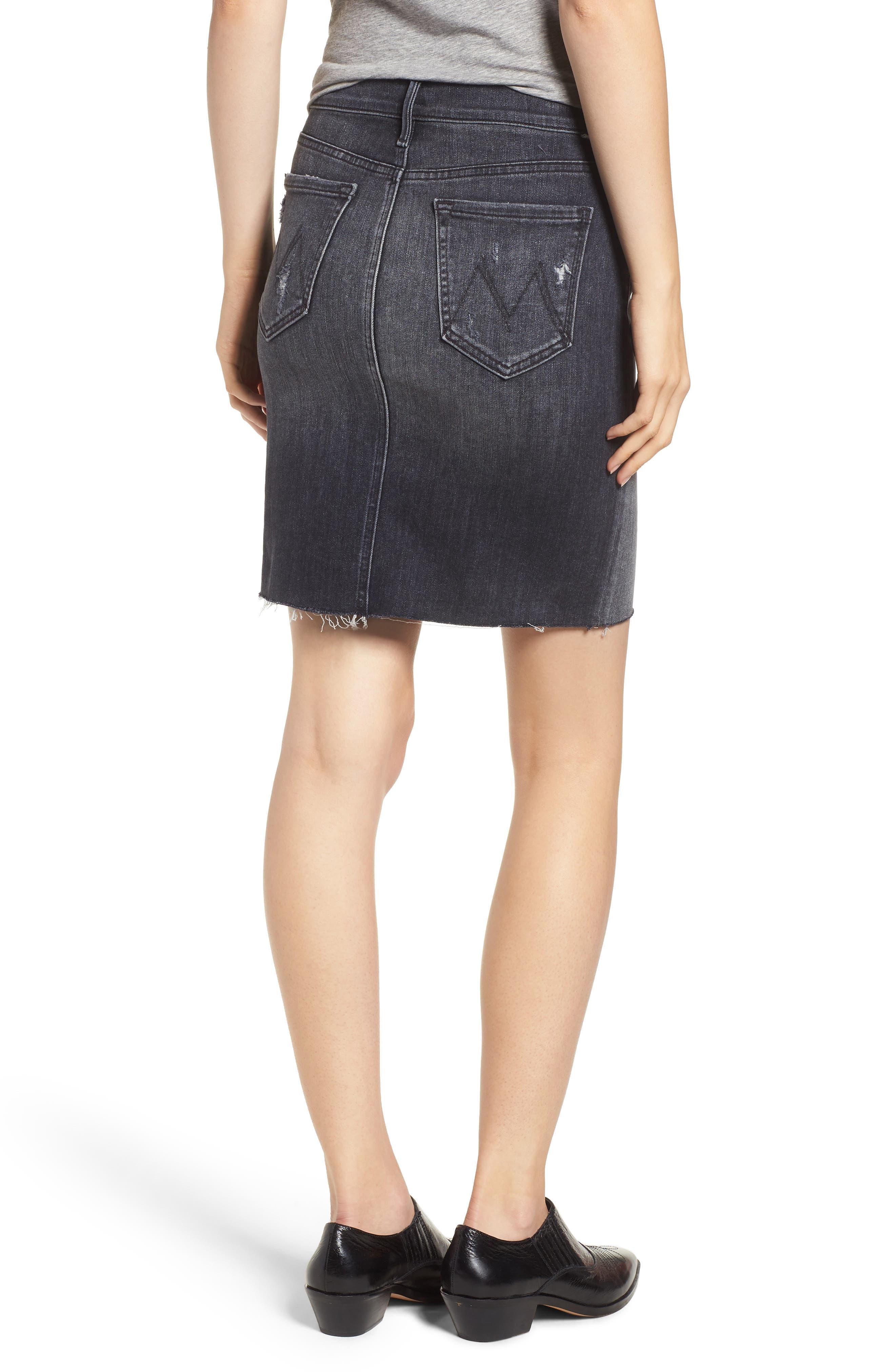 Swooner Exposed Zip Denim Miniskirt,                             Alternate thumbnail 2, color,                             LEAVE THE LIGHT ON