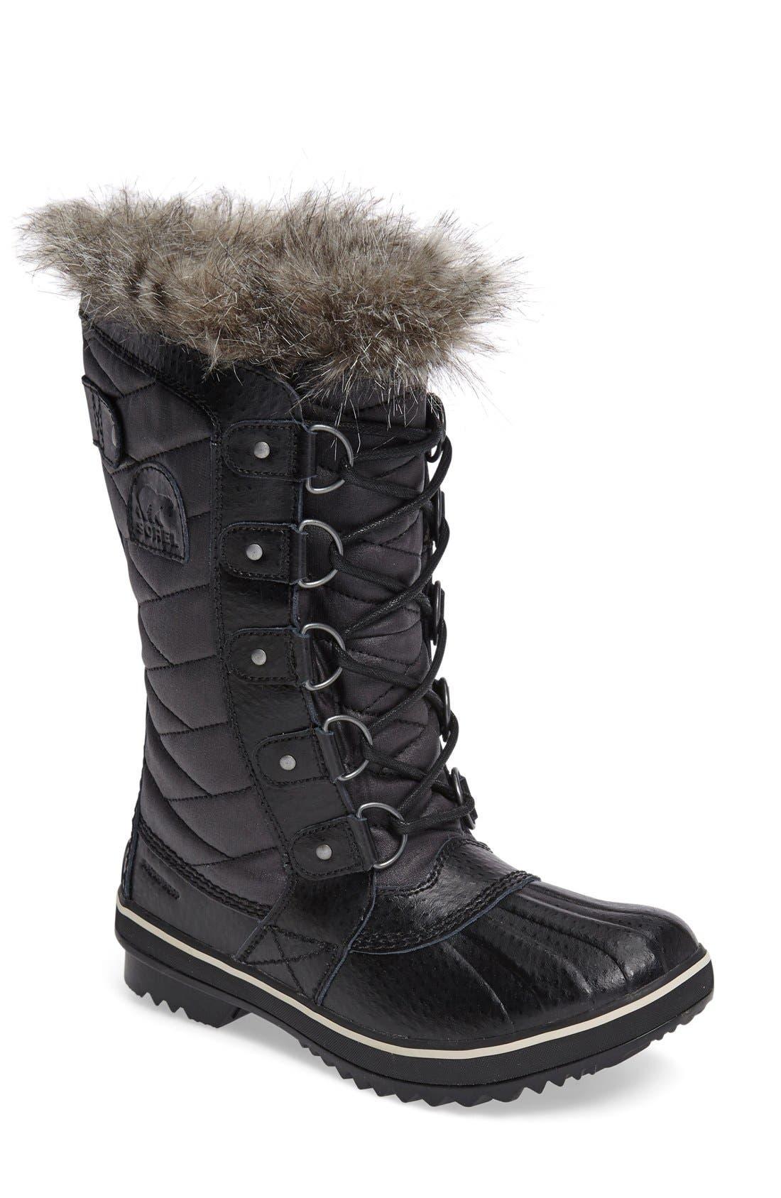 'Tofino II' Faux Fur Lined Waterproof Boot,                             Main thumbnail 1, color,                             BLACK