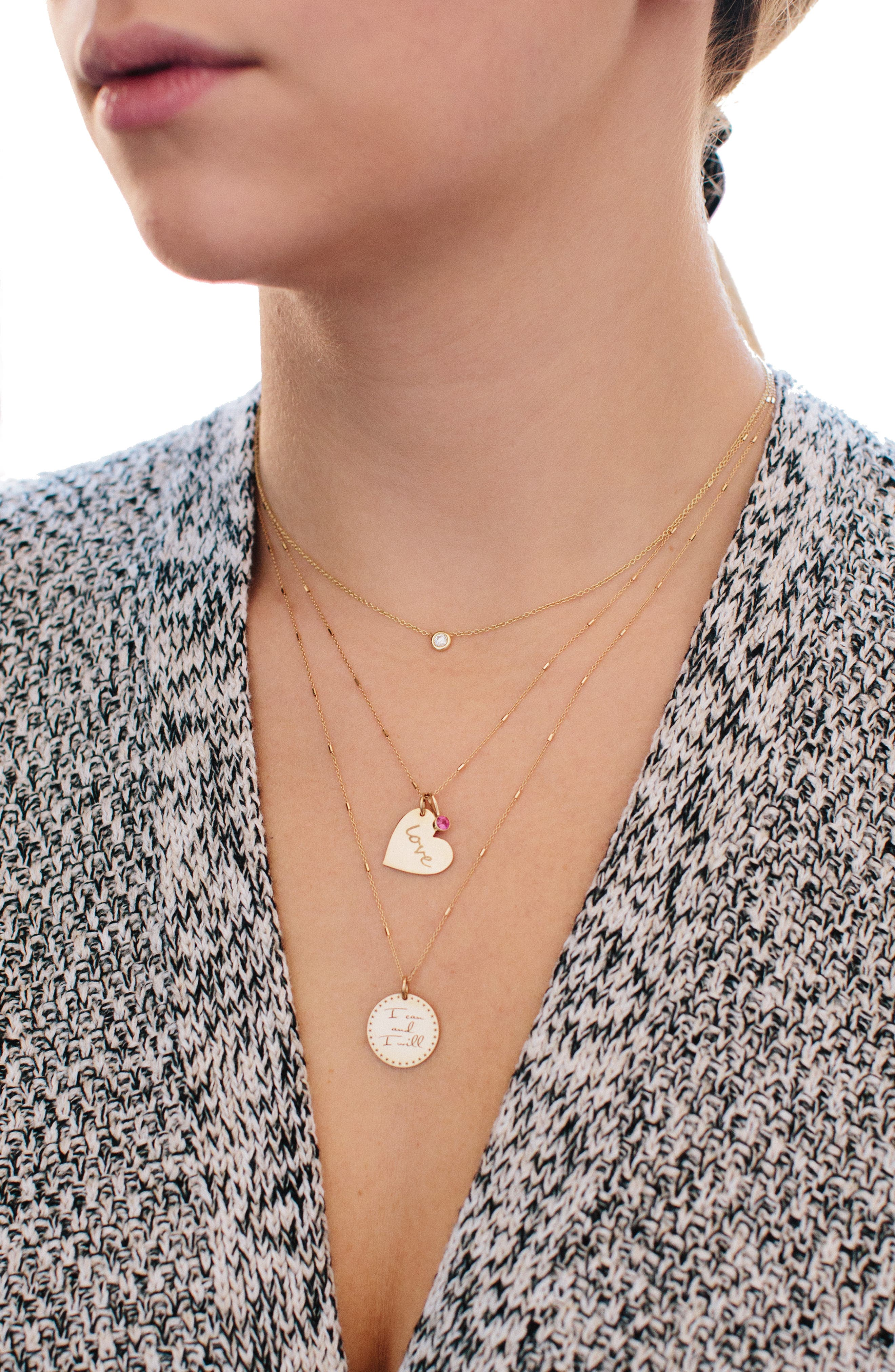 Heart with Love Charm Necklace,                             Alternate thumbnail 3, color,                             GOLD