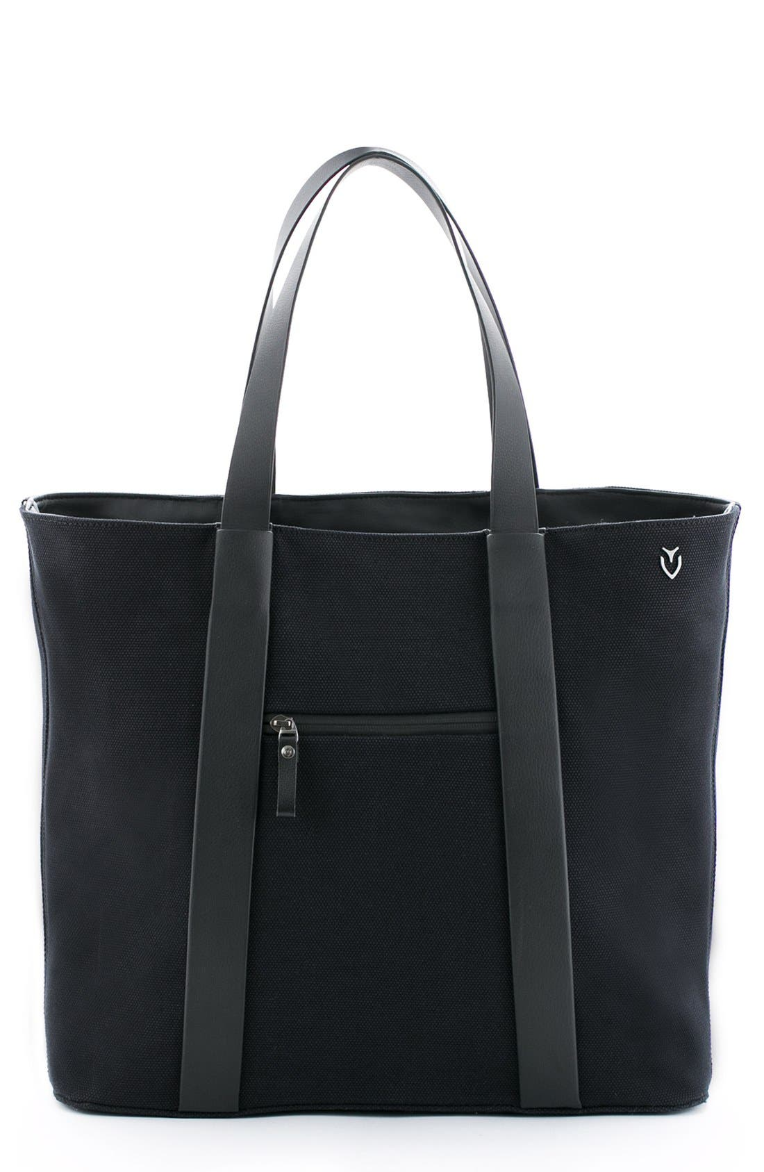 'Signature' Leather Tote Bag,                         Main,                         color, 001