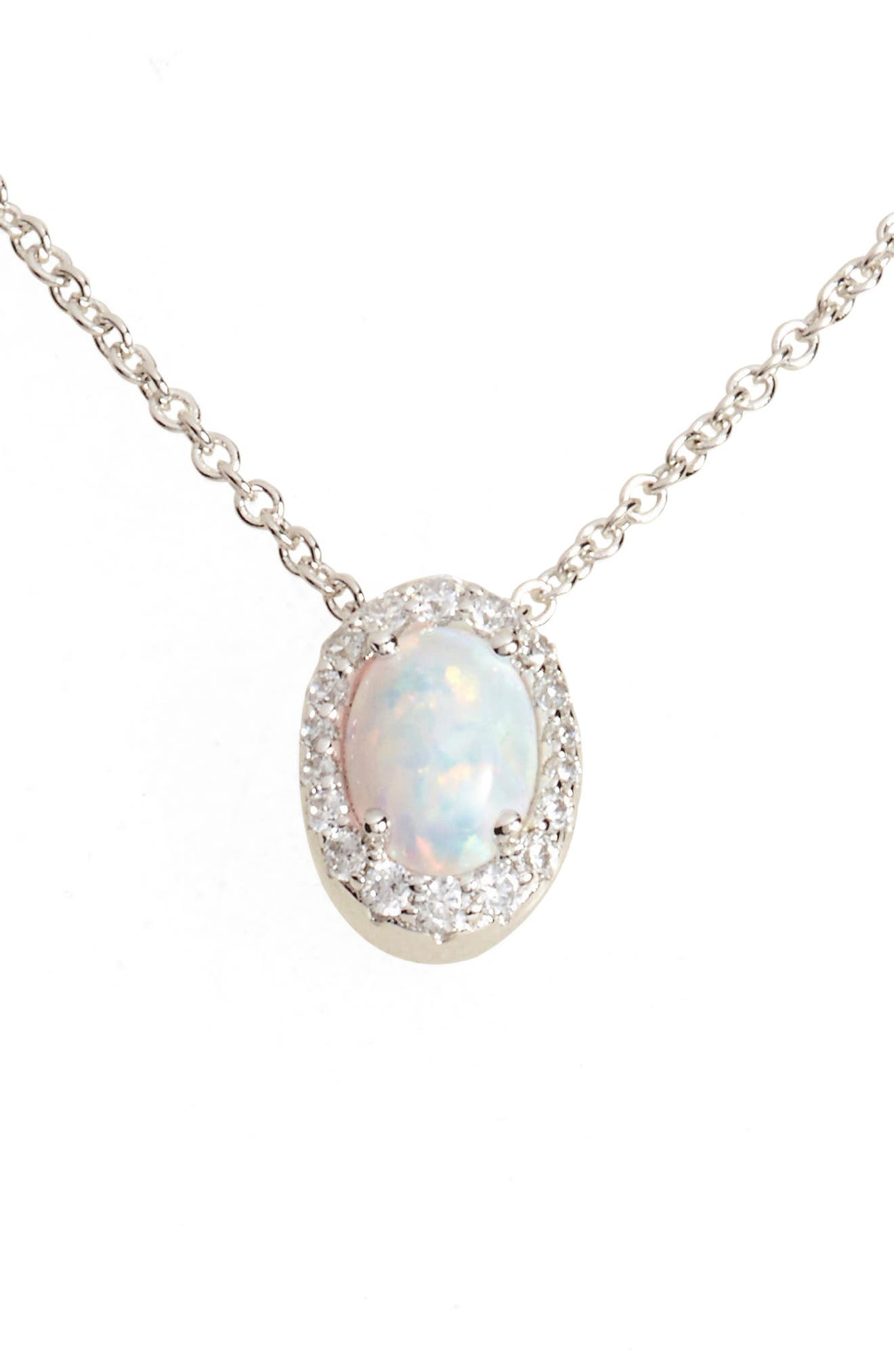 Simulated Opal Halo Pendant Necklace,                         Main,                         color, SILVER/ OPAL/ CLEAR