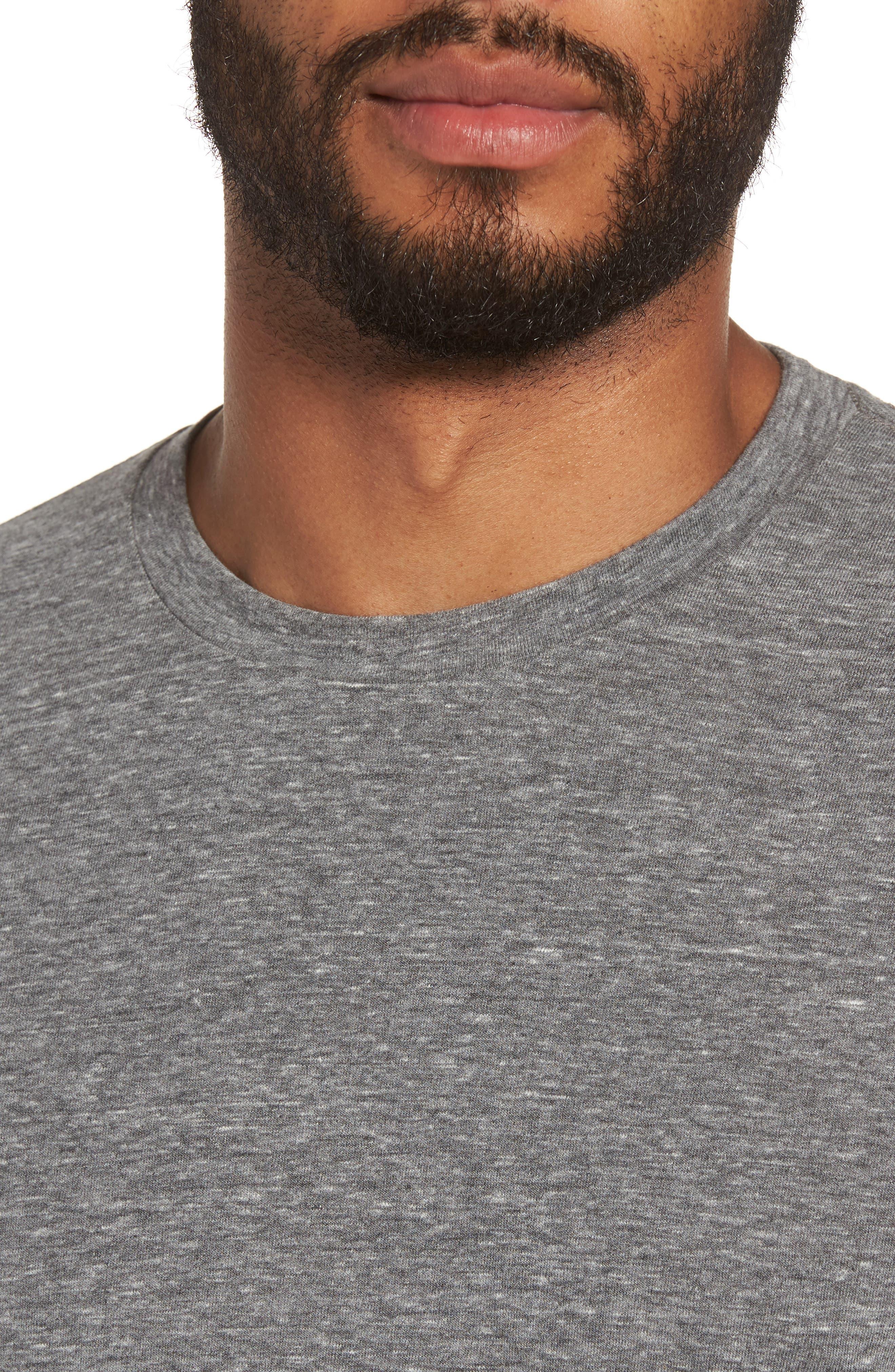 Supima Cotton Blend Crewneck T-Shirt,                             Alternate thumbnail 4, color,                             HEATHER GREY