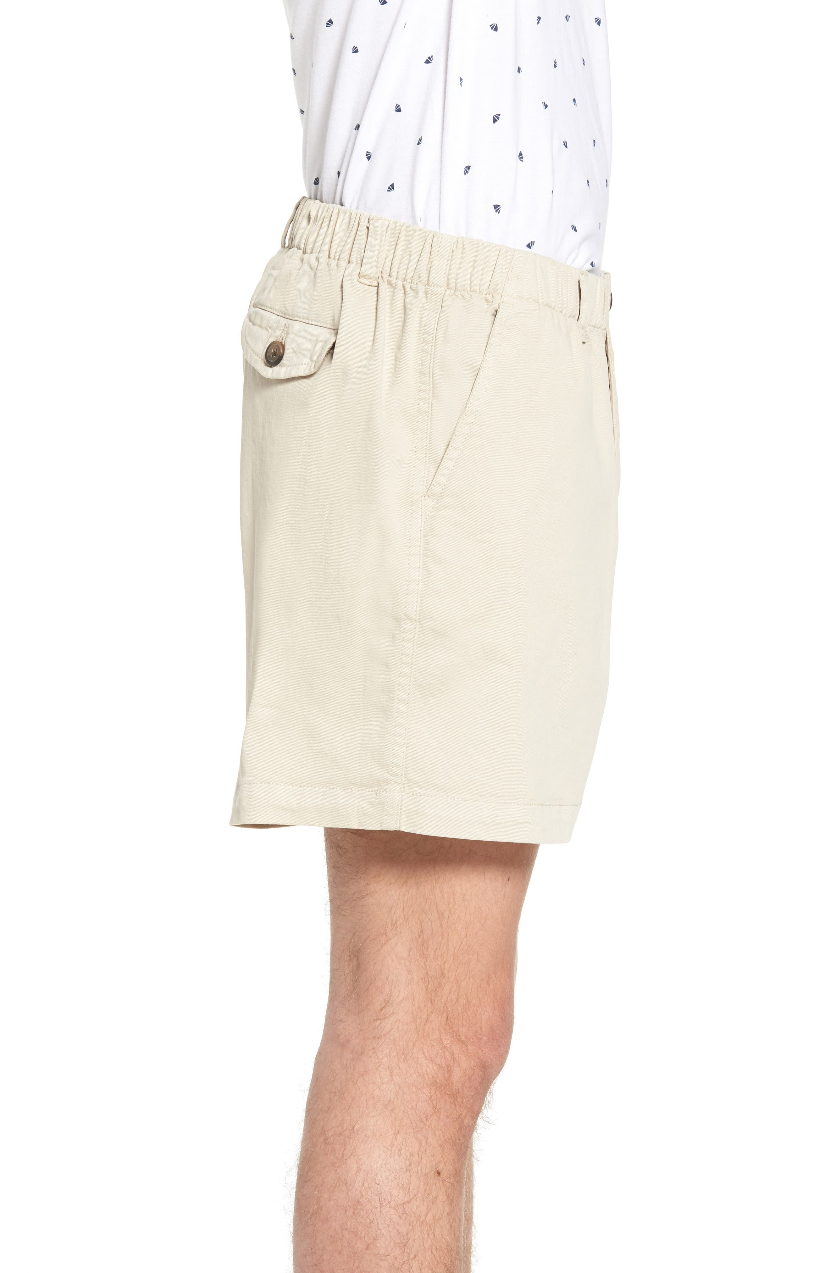 Snappers Elastic Waist 5.5 Inch Stretch Shorts,                             Alternate thumbnail 3, color,                             STONE