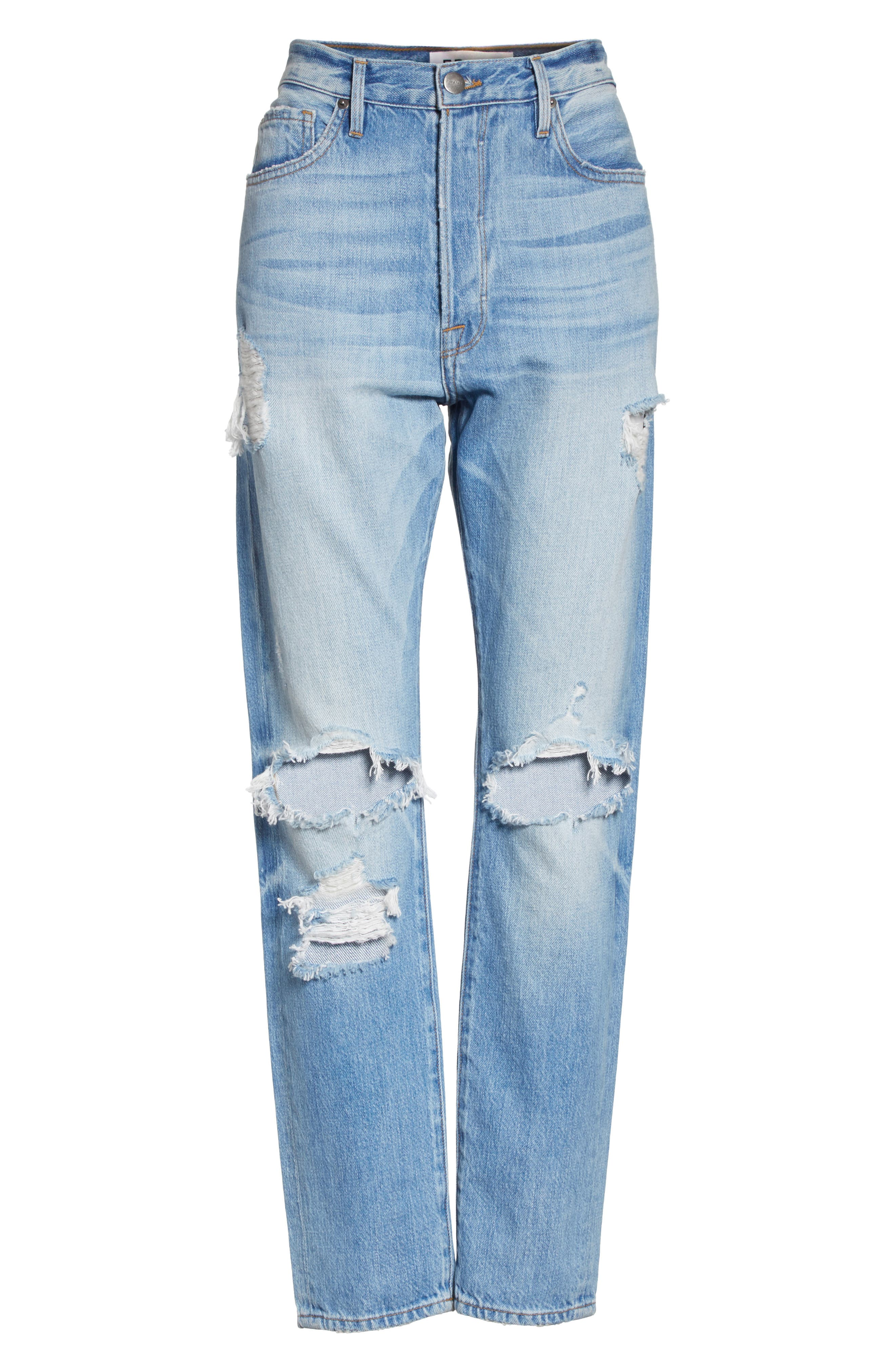 Le Original Ripped High Waist Skinny Jeans,                             Alternate thumbnail 7, color,                             POMDALE