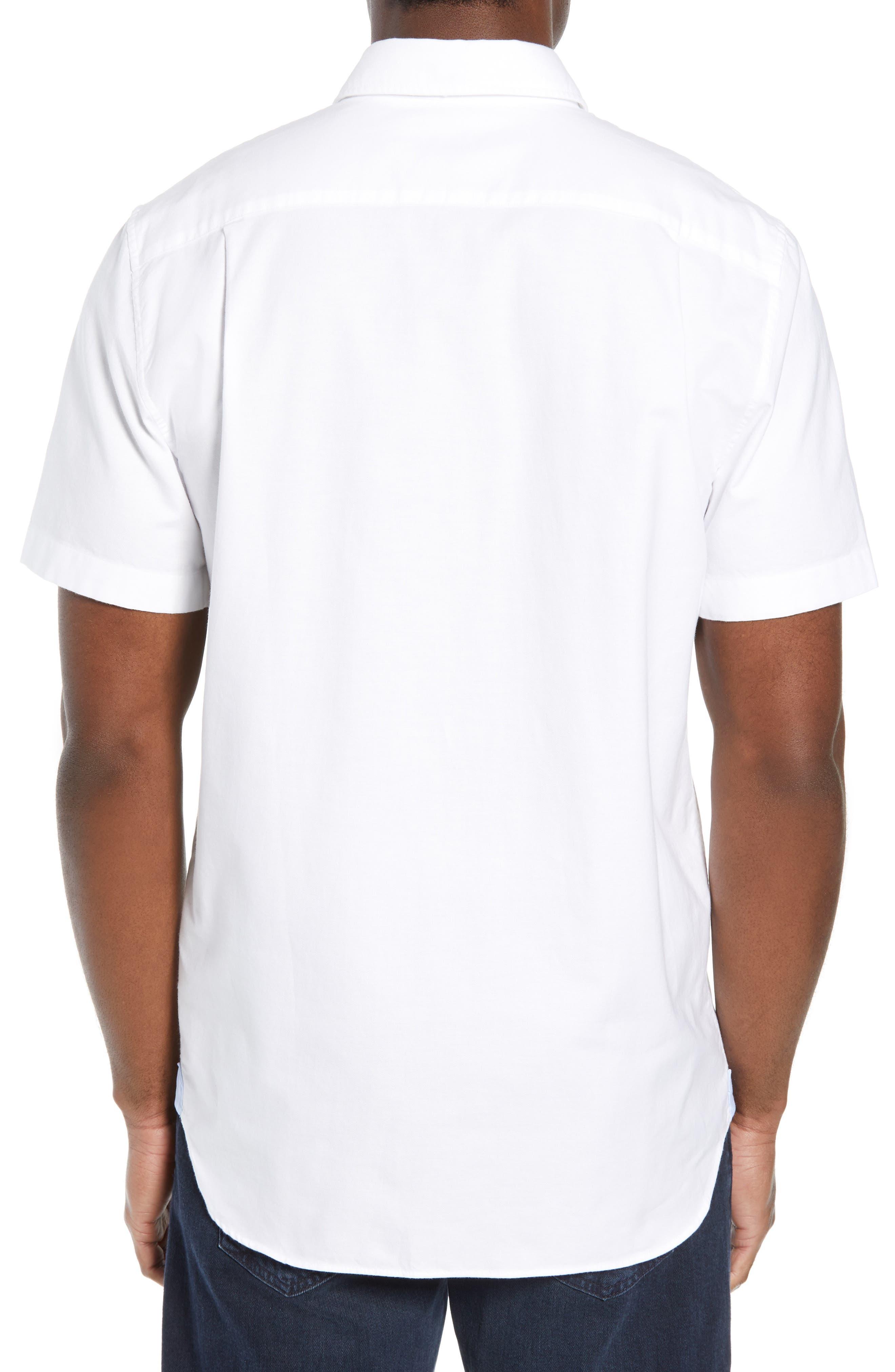 Regular Fit Short Sleeve Cotton Sport Shirt,                             Alternate thumbnail 3, color,                             WHITE