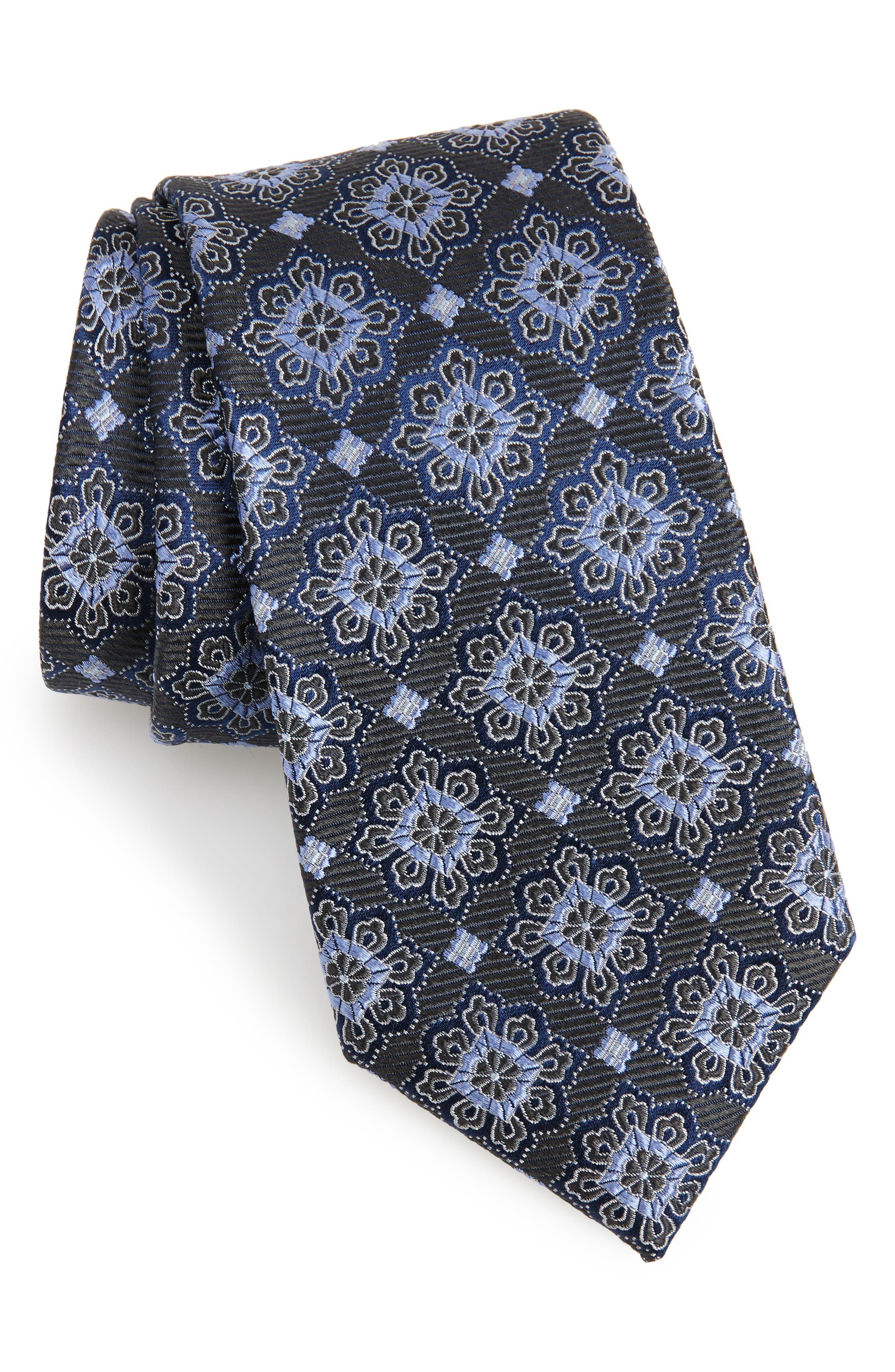 Cleo Medallion Silk Tie,                         Main,                         color, 025