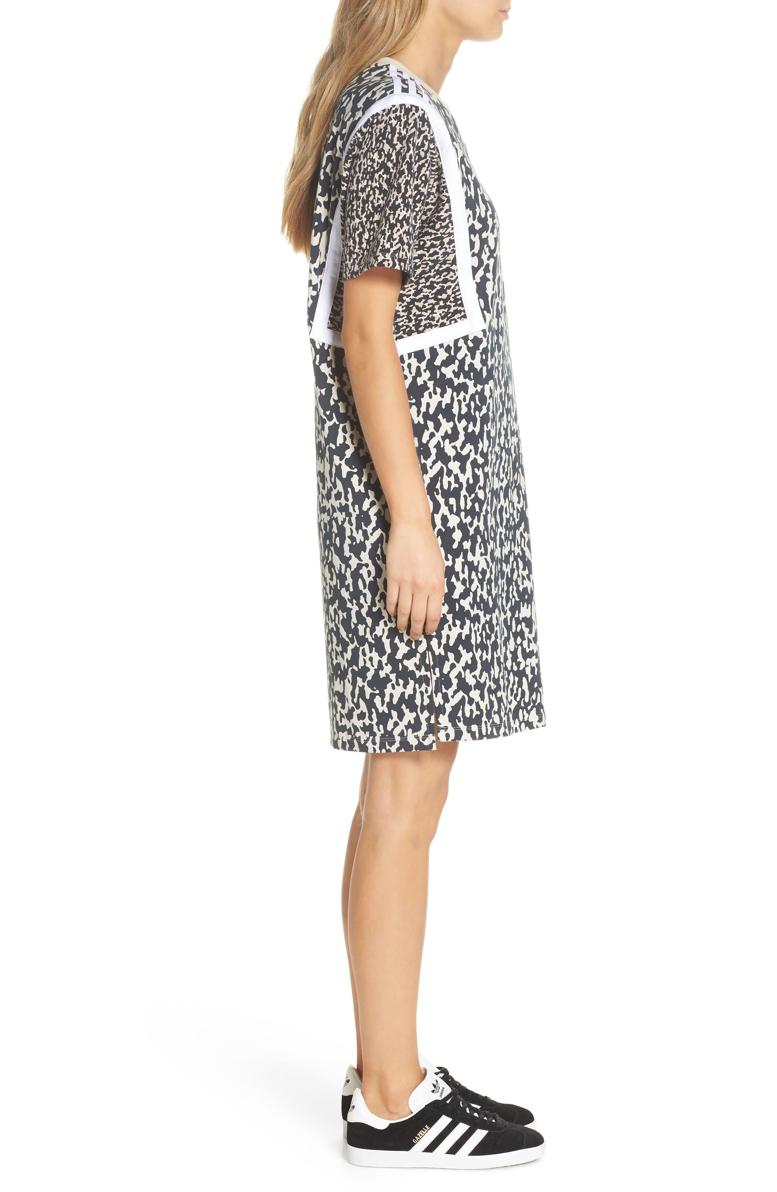 adidas Animal Print Shift Dress,                             Alternate thumbnail 3, color,                             250