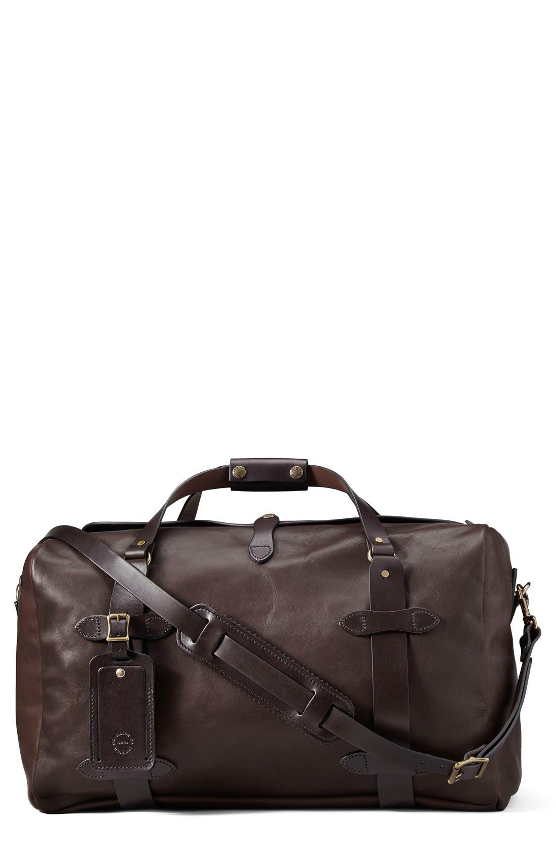 Weatherproof Leather Duffel Bag,                             Main thumbnail 1, color,