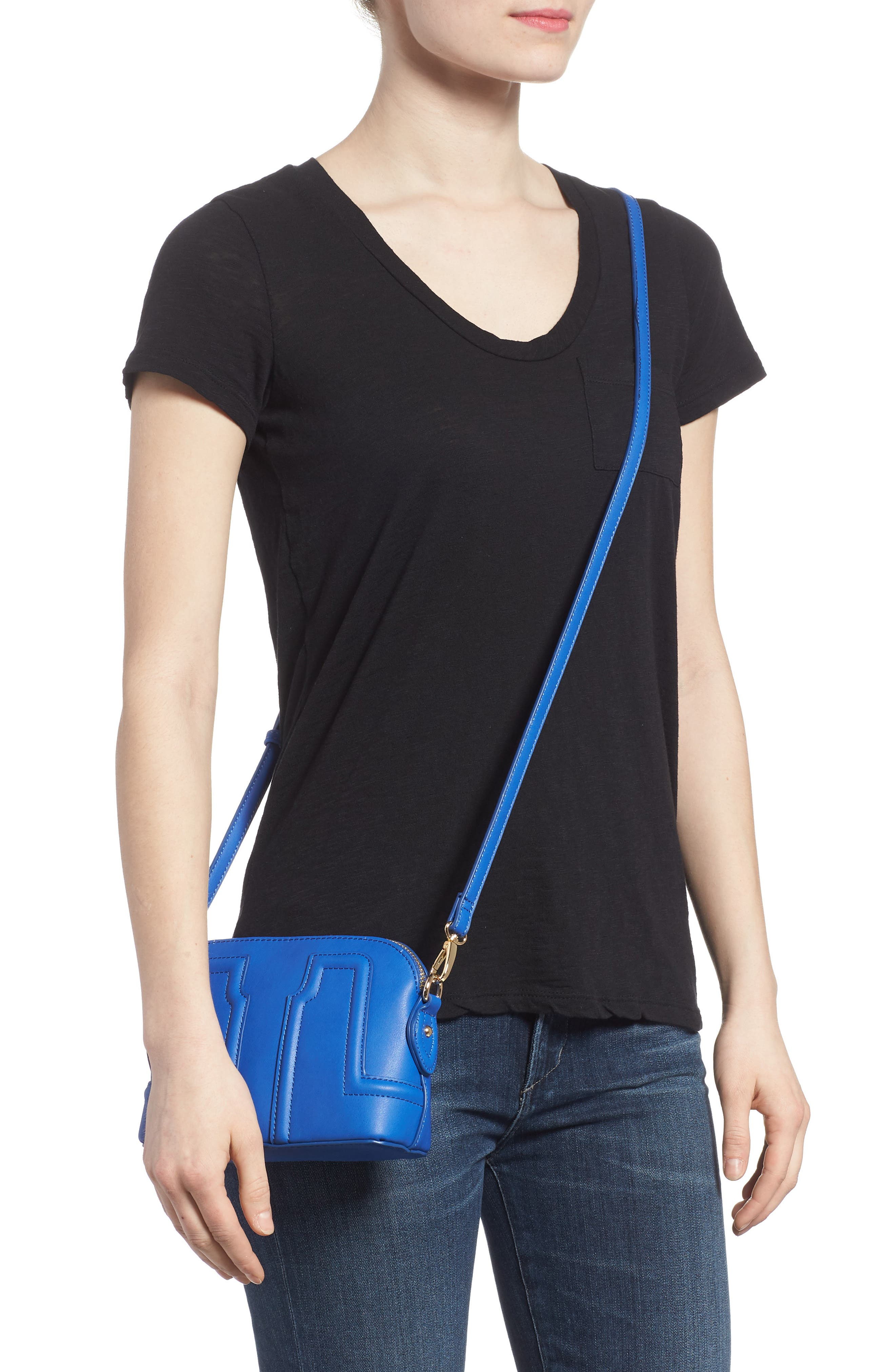 Structured Faux Leather Dome Crossbody,                             Alternate thumbnail 5, color,