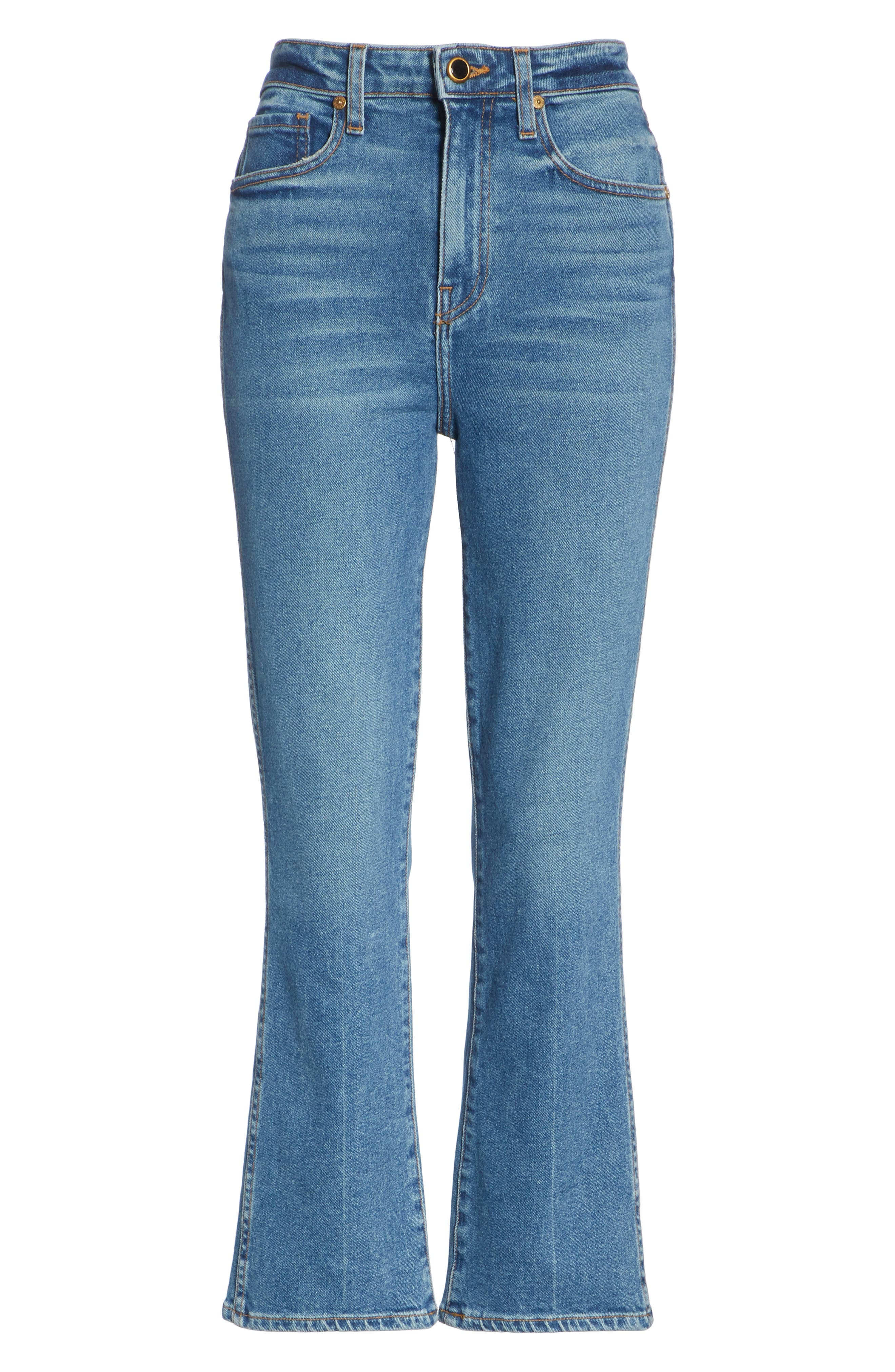 Benny Crop Flare Jeans,                             Alternate thumbnail 7, color,                             VINTAGE WASH