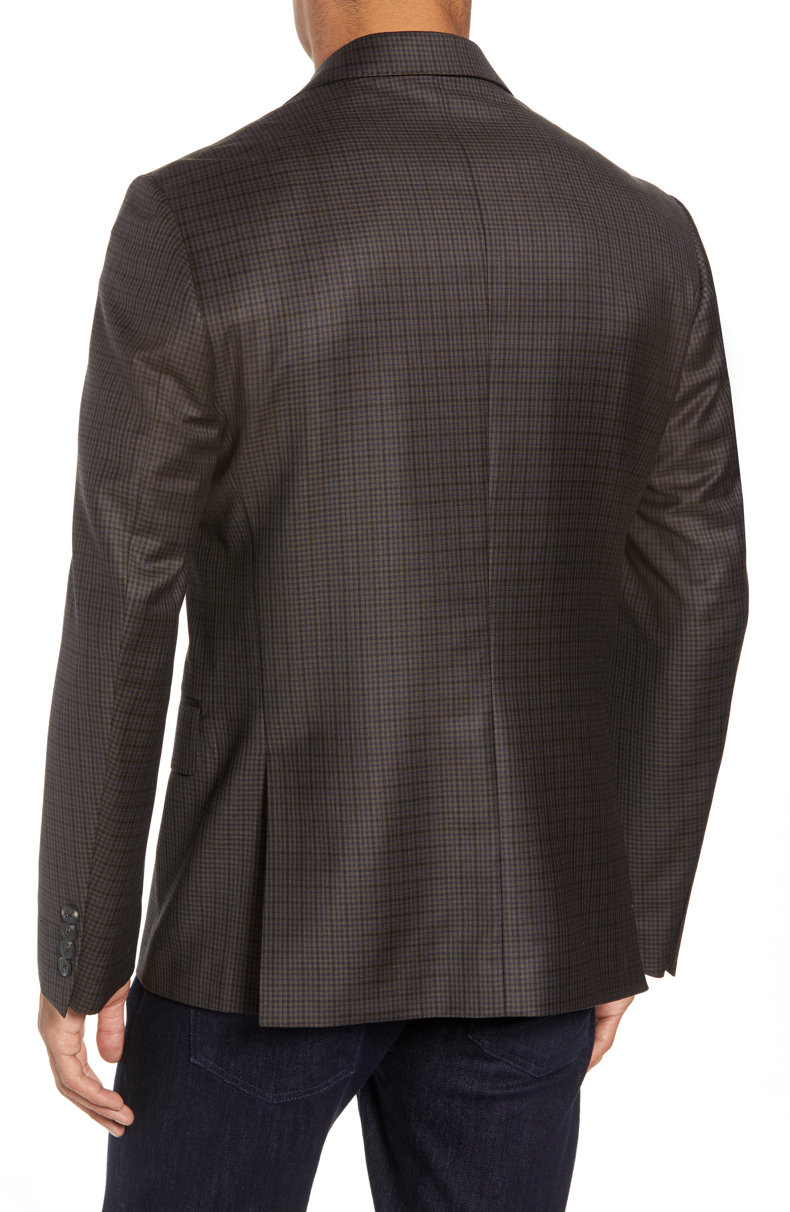Traditional Fit Check Wool Sport Coat,                             Alternate thumbnail 2, color,                             BROWN