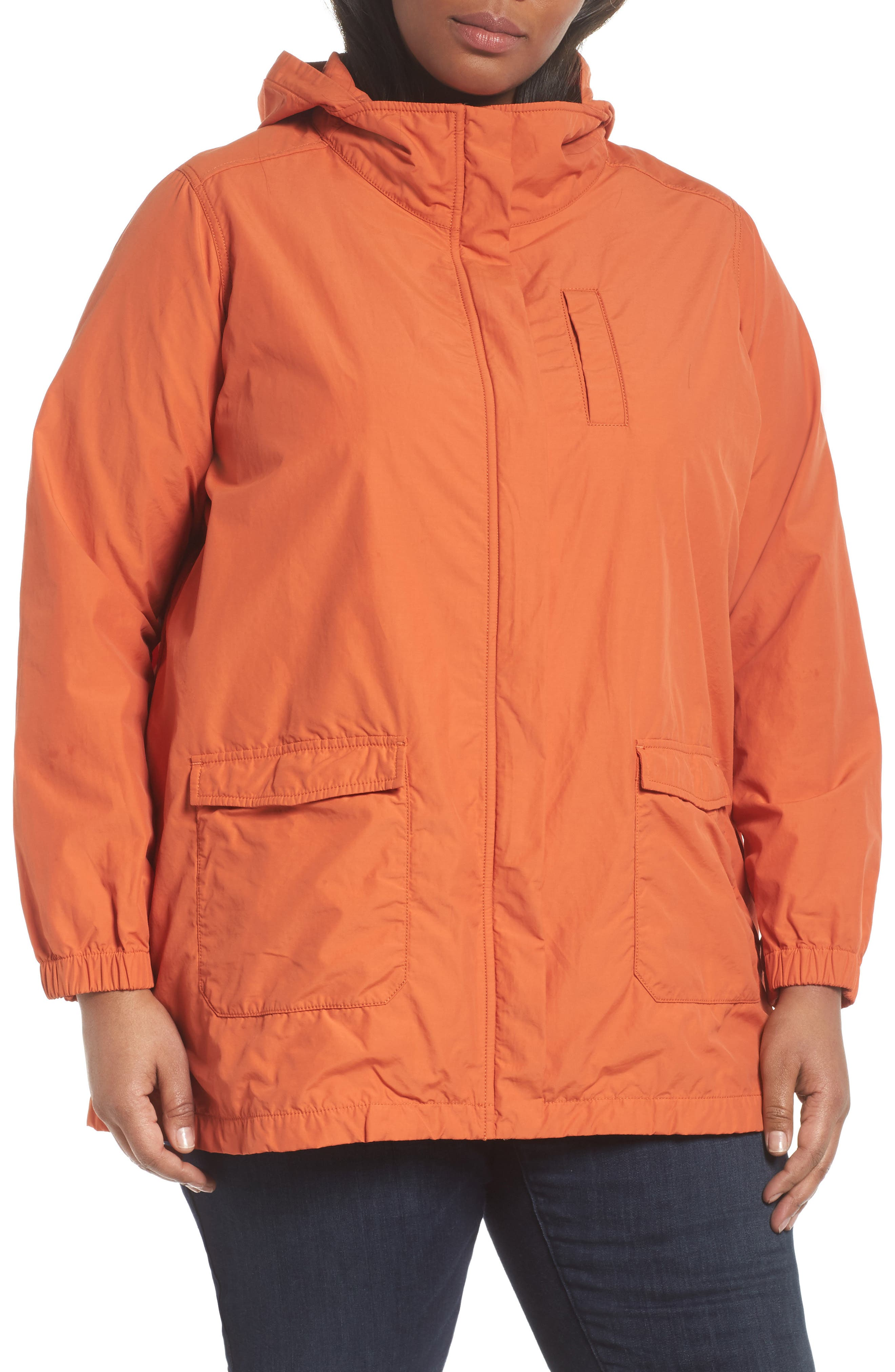 Hooded Organic Cotton Blend Jacket,                             Alternate thumbnail 4, color,                             001