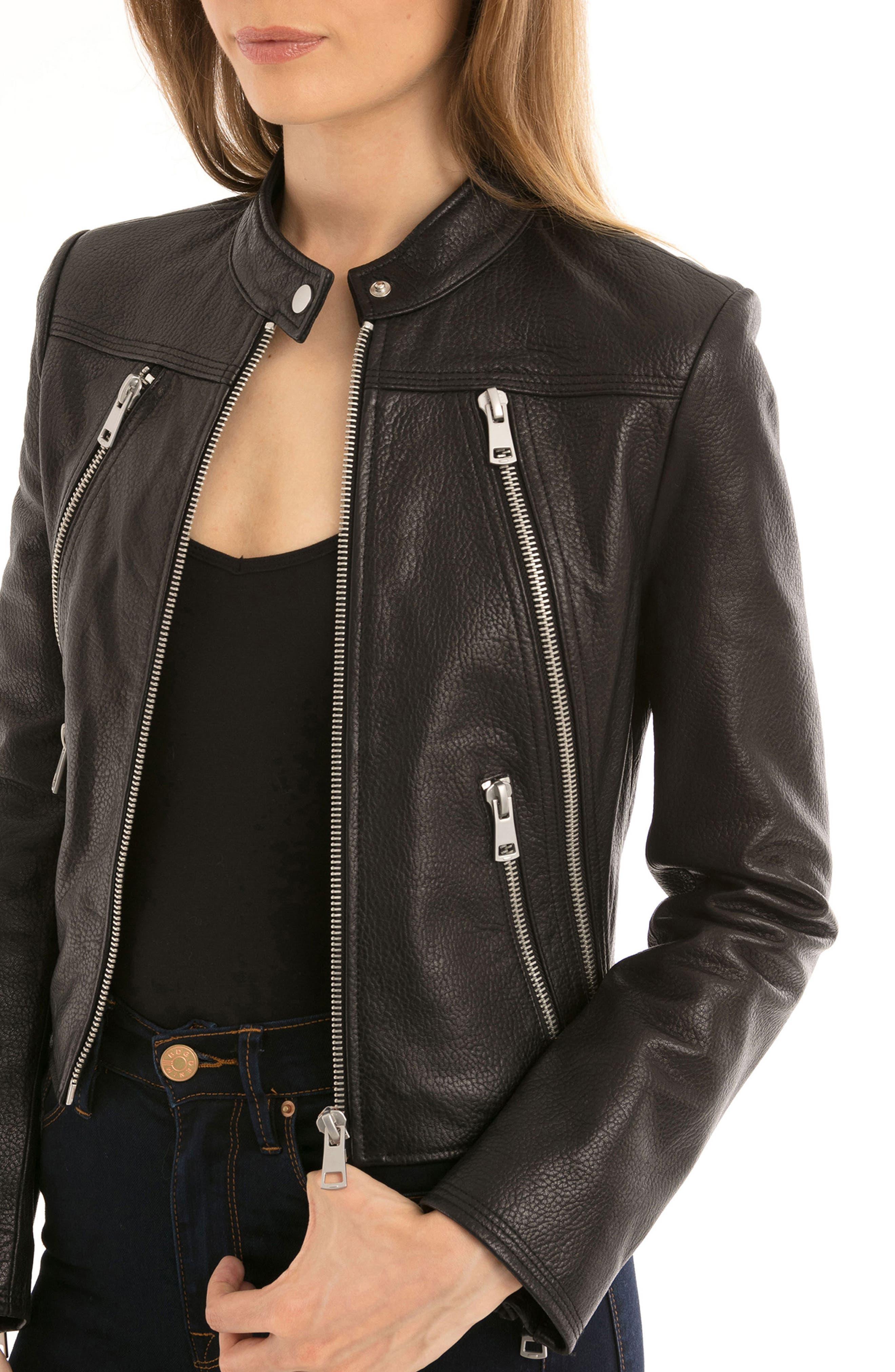 Bagatelle Textured Leather Jacket,                             Alternate thumbnail 4, color,                             001
