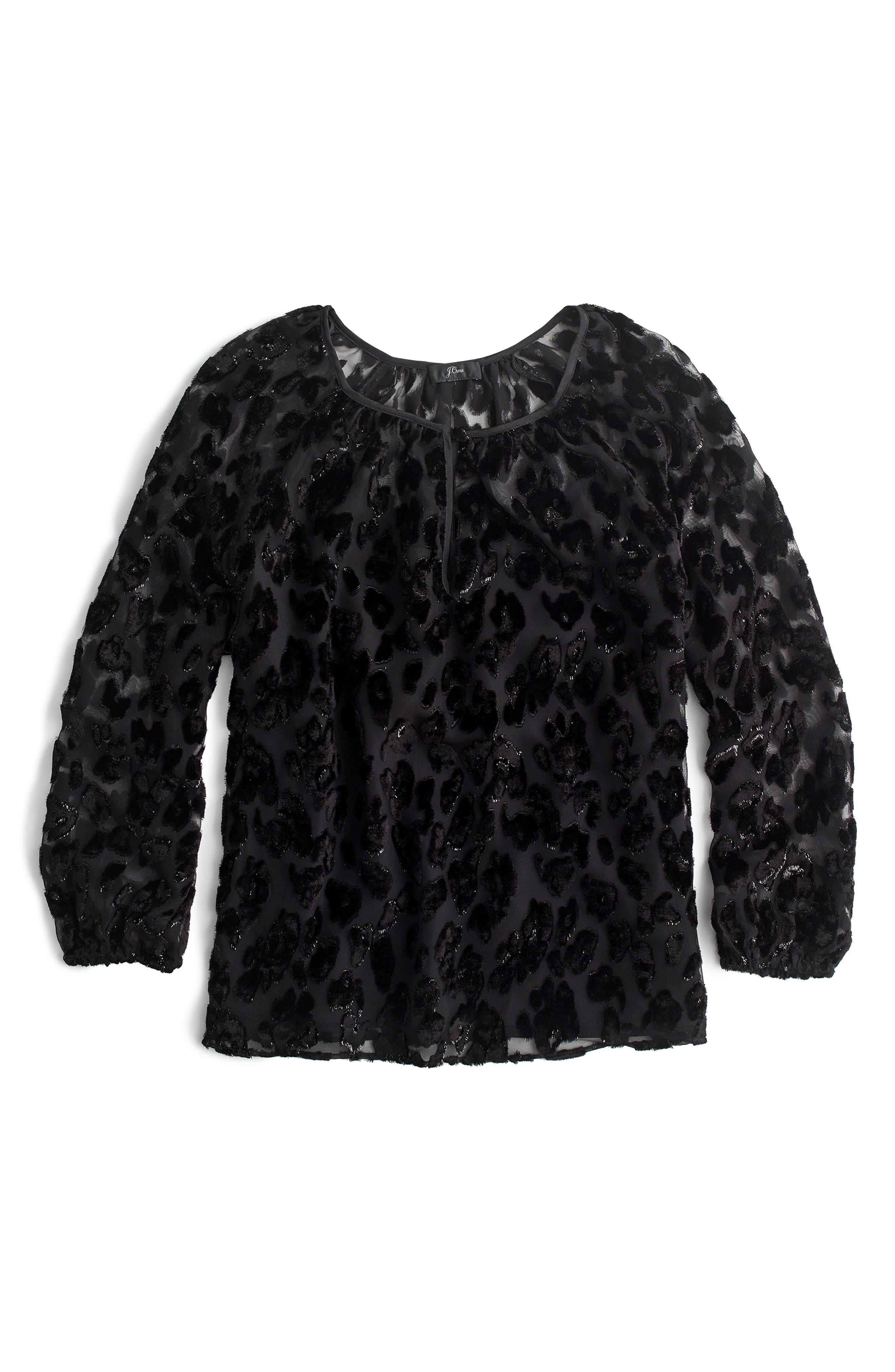 Leopard Velvet Popover Top,                             Alternate thumbnail 4, color,                             BLACK