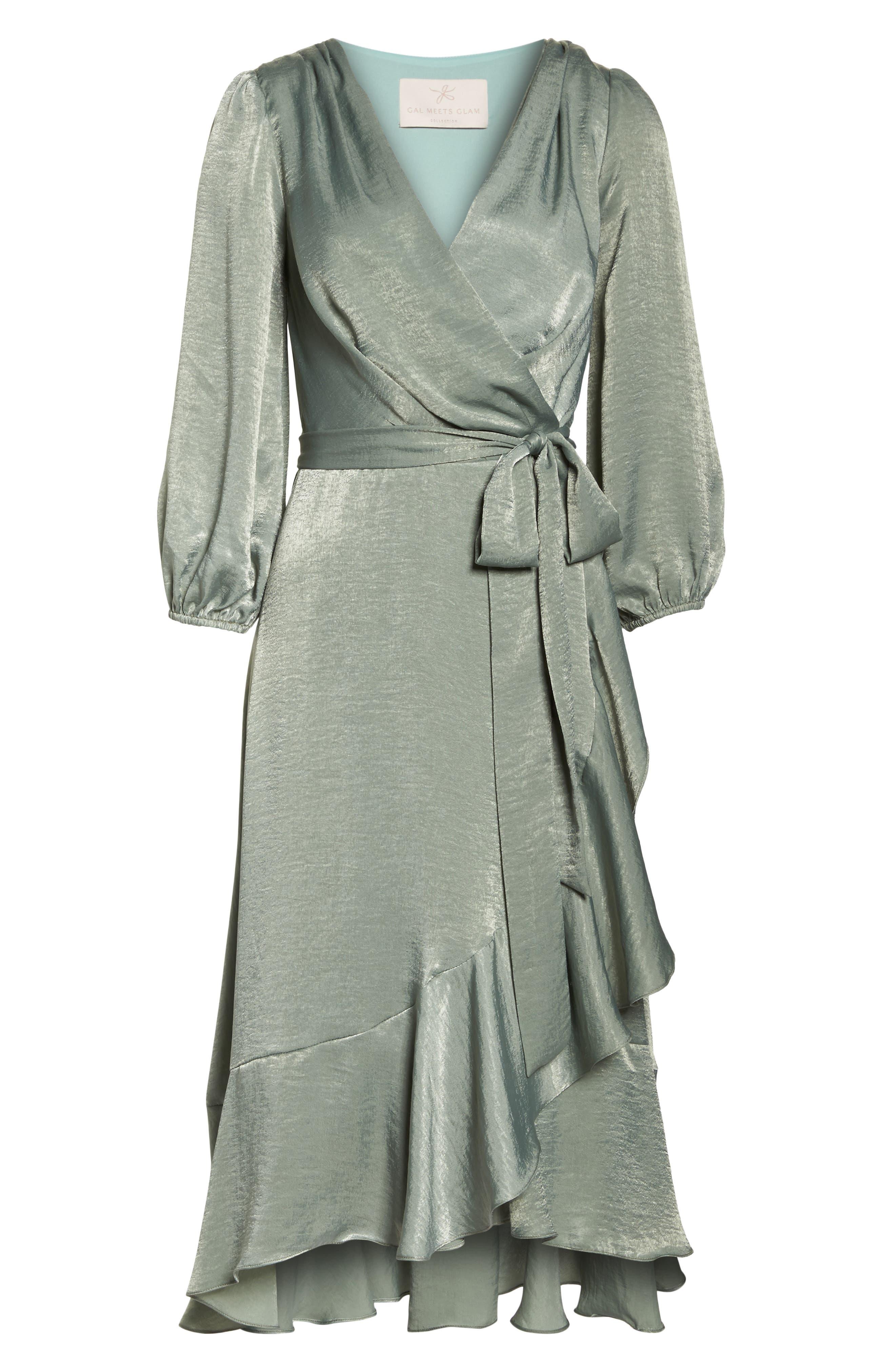Jennifer Shimmer Satin Wrap Dress,                             Alternate thumbnail 7, color,                             321