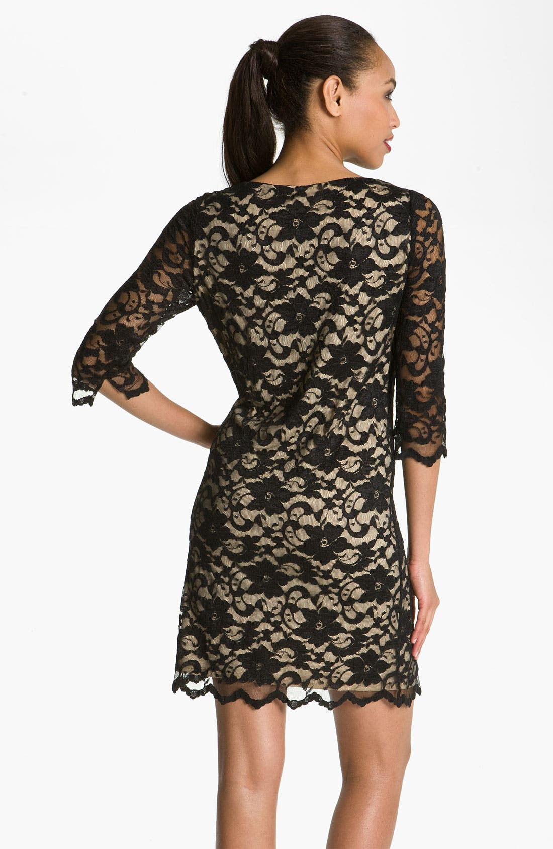 Lace Overlay Dress,                             Alternate thumbnail 4, color,                             001