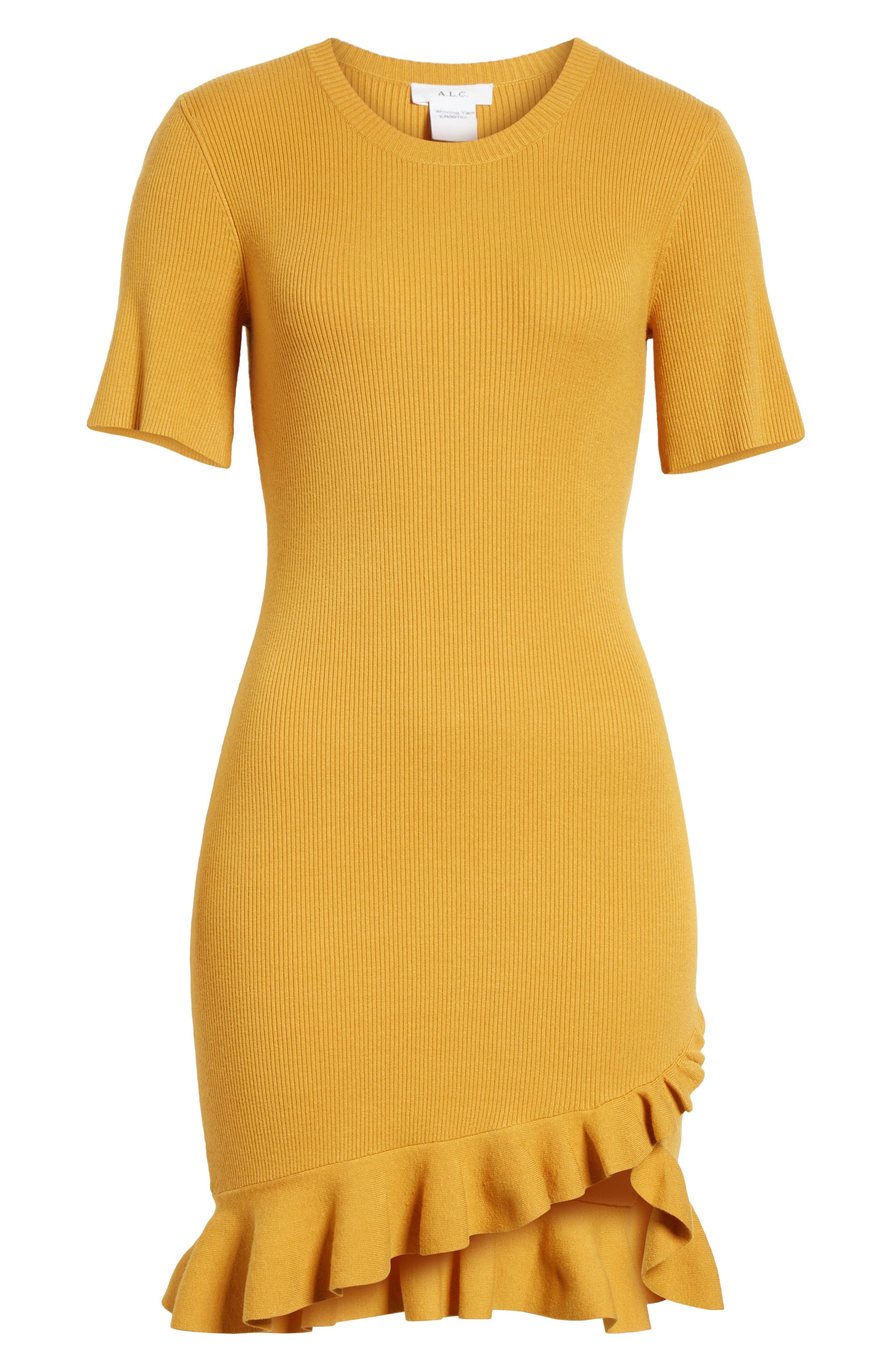 Tulum Ribbed Ruffle Hem Dress,                             Alternate thumbnail 6, color,                             720