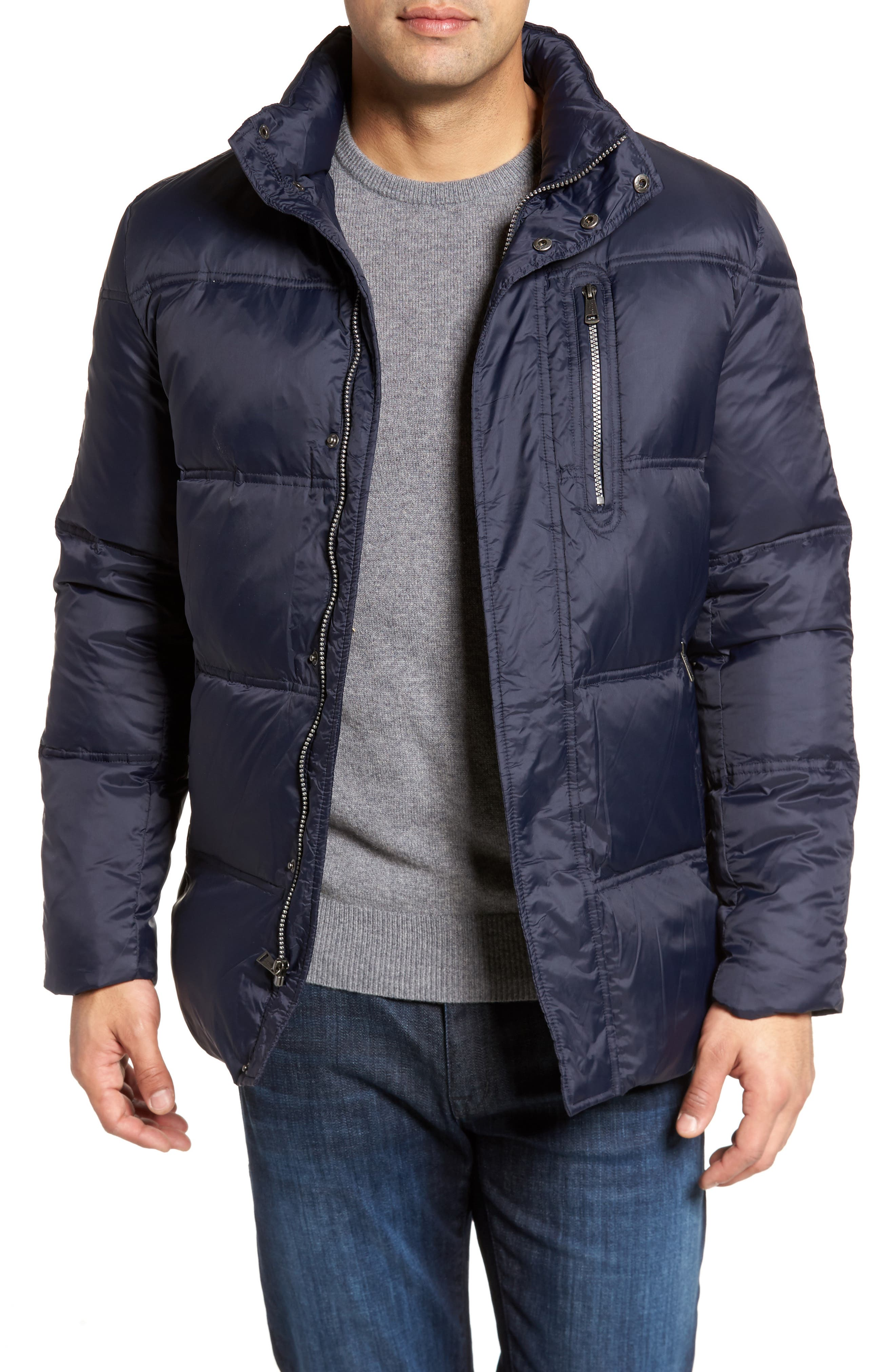 Quilted Jacket with Convertible Neck Pillow,                         Main,                         color, NAVY
