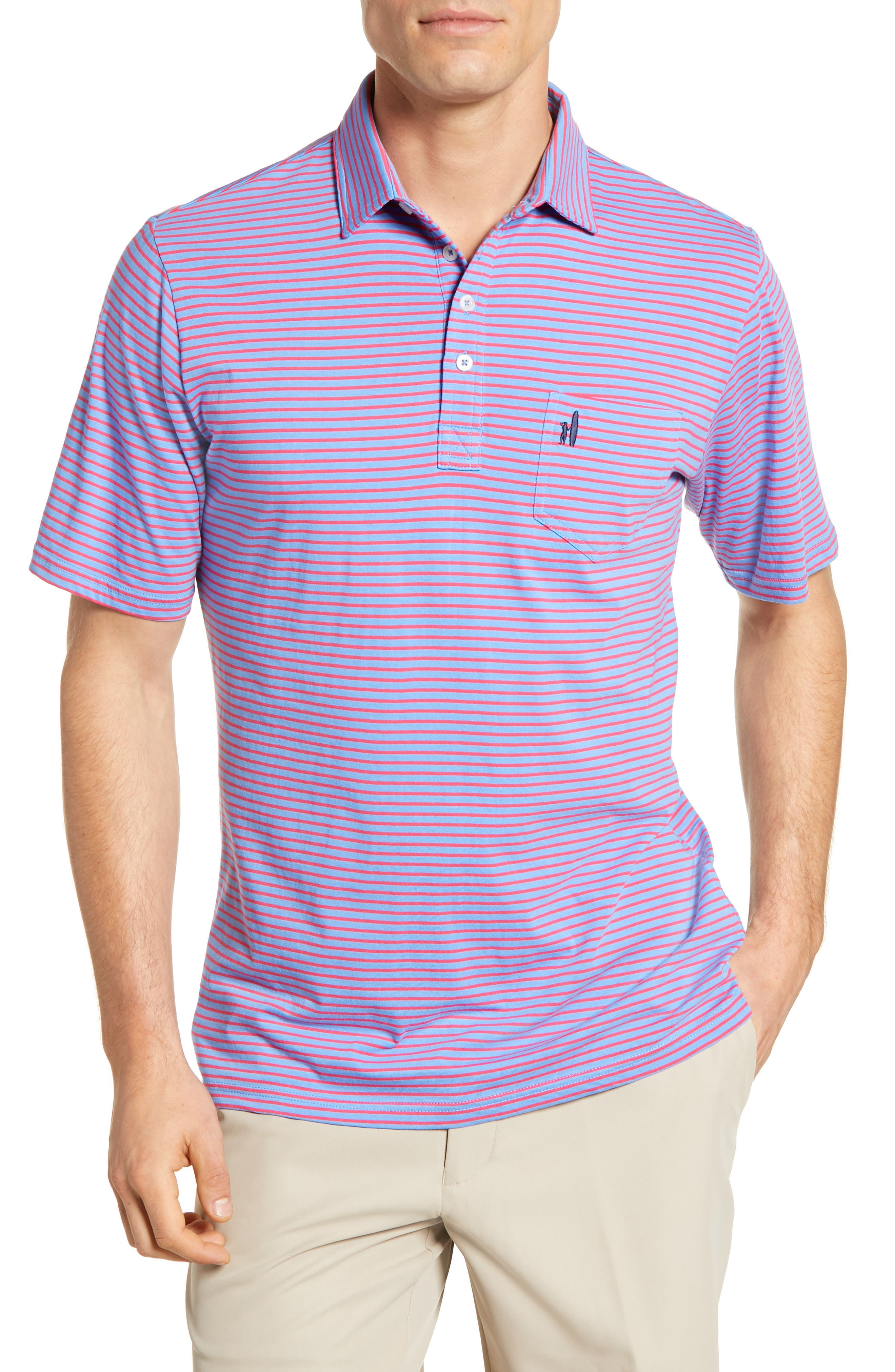 JOHNNIE-O Macon Regular Fit Stripe Polo in Neon Blue