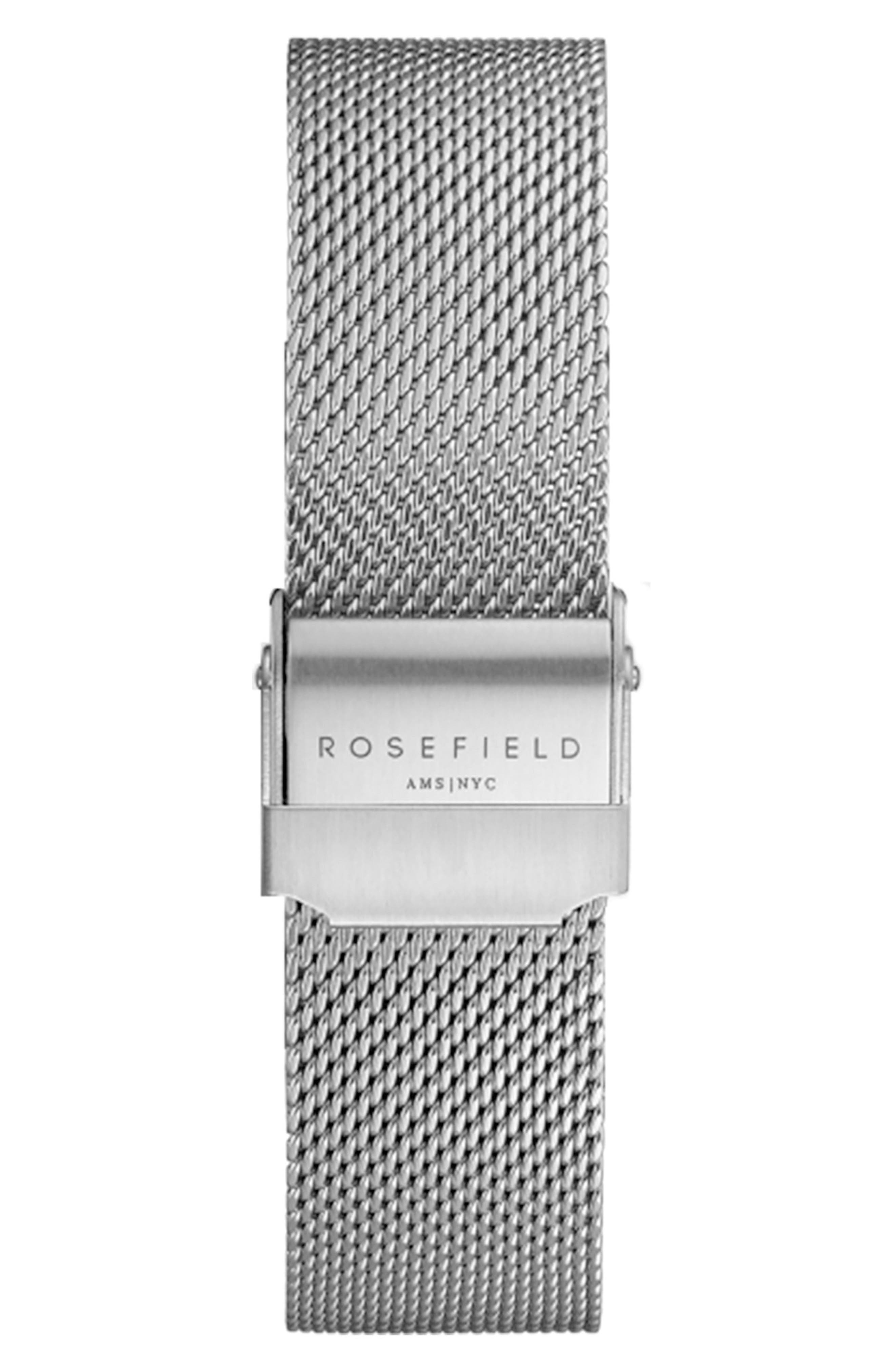 Mercer Mesh Strap Watch, 38mm,                             Alternate thumbnail 2, color,                             SILVER/ WHITE/ SILVER