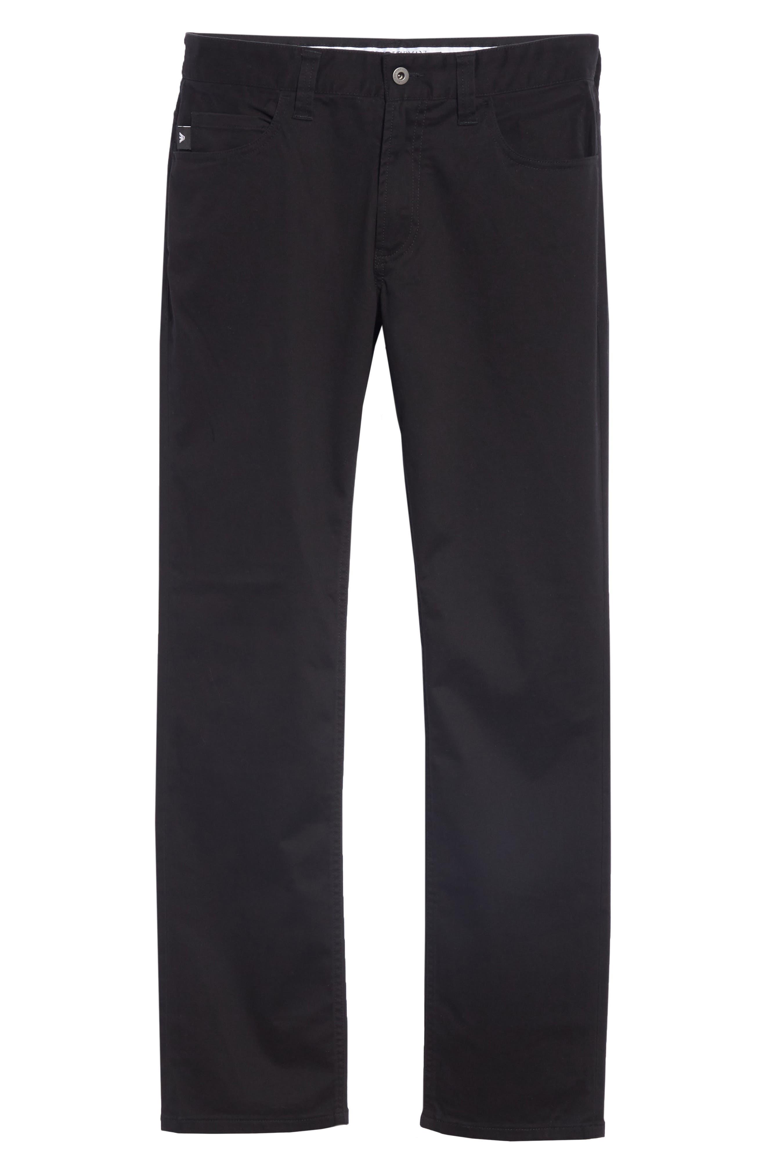 Stretch Cotton Five Pocket Trousers,                             Alternate thumbnail 6, color,                             BLACK
