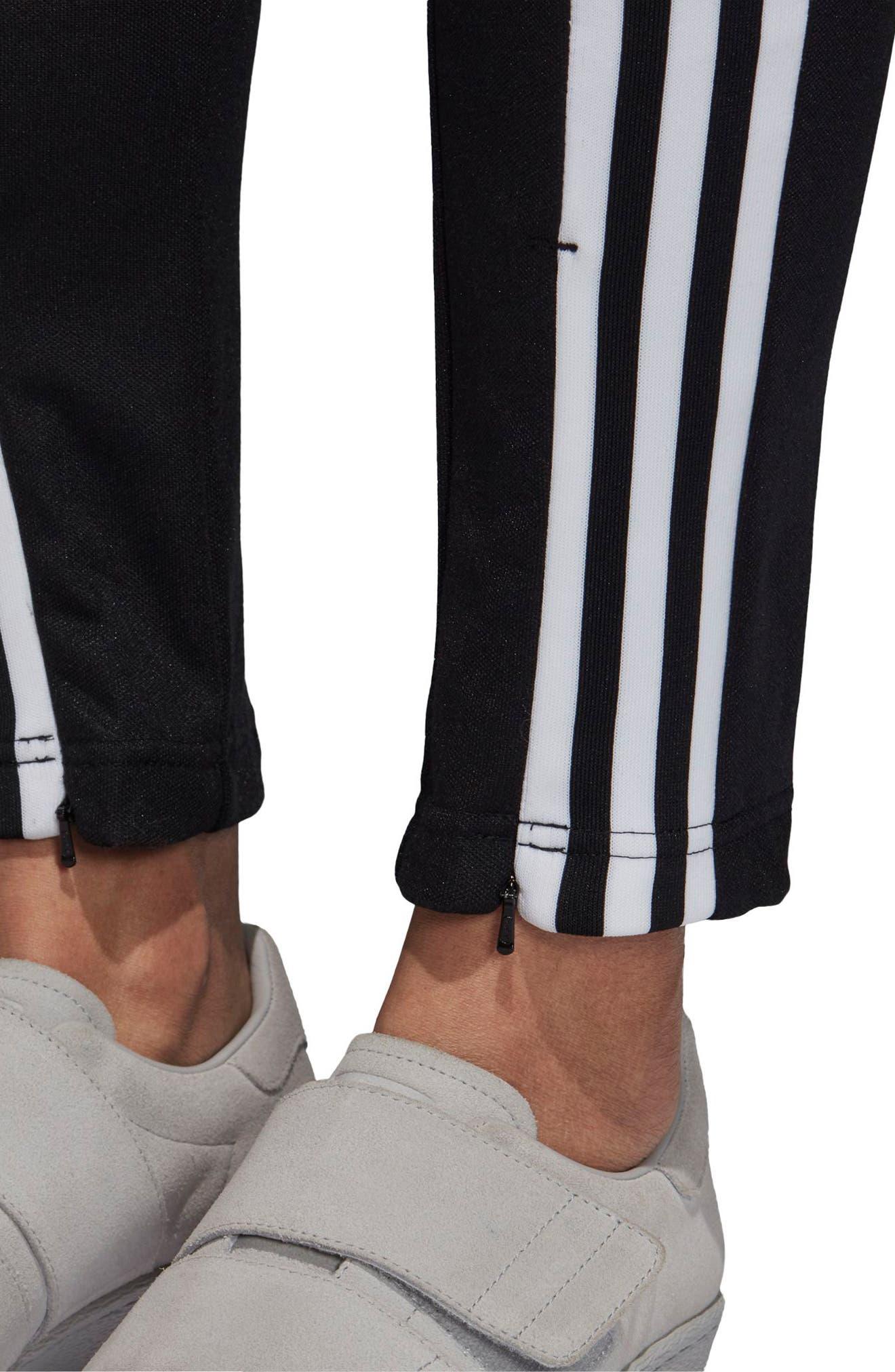 adidas 3 Stripe Track Pants,                             Alternate thumbnail 4, color,                             BLACK