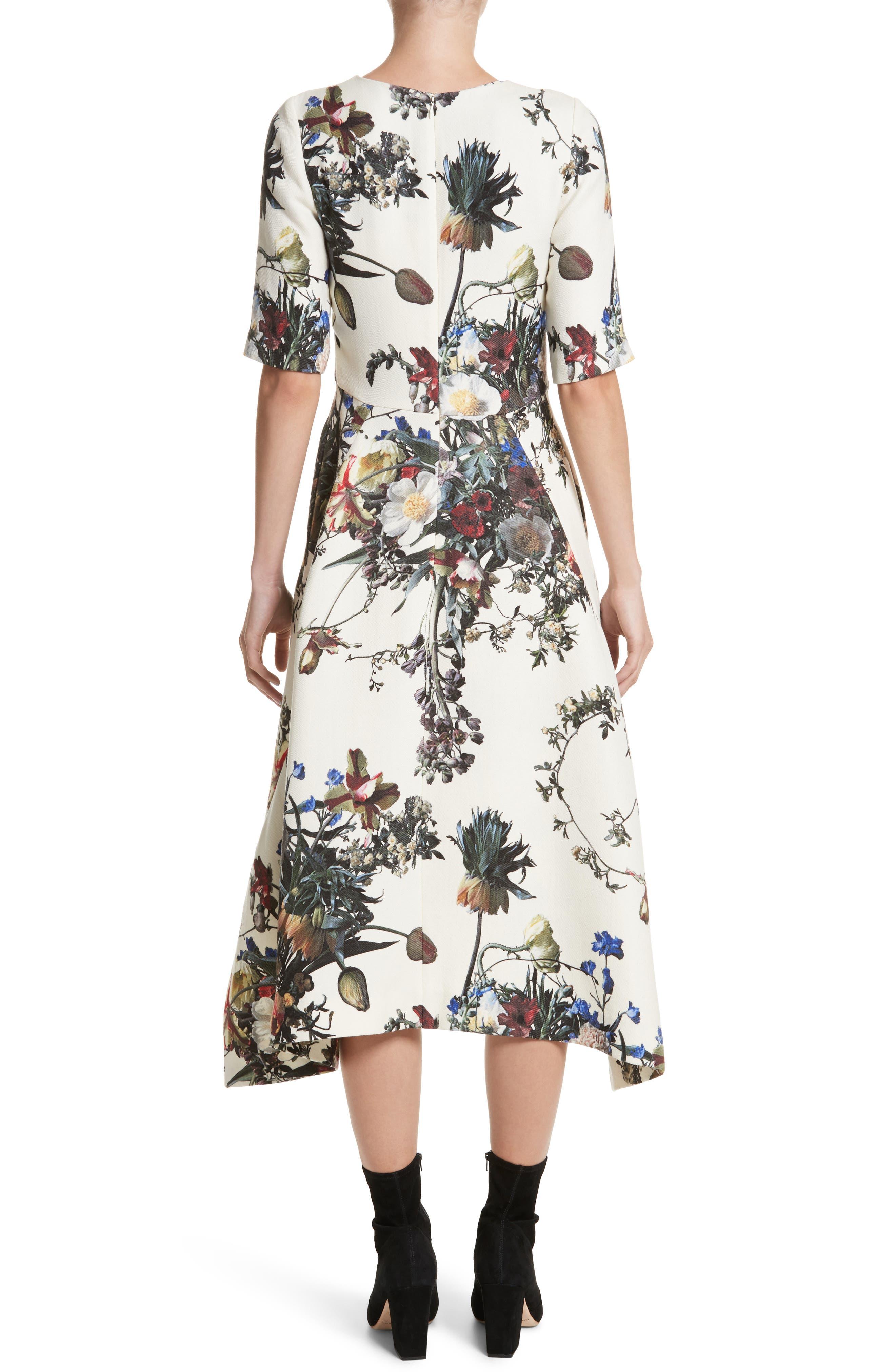 Floral Print Trapeze Dress,                             Alternate thumbnail 2, color,                             900