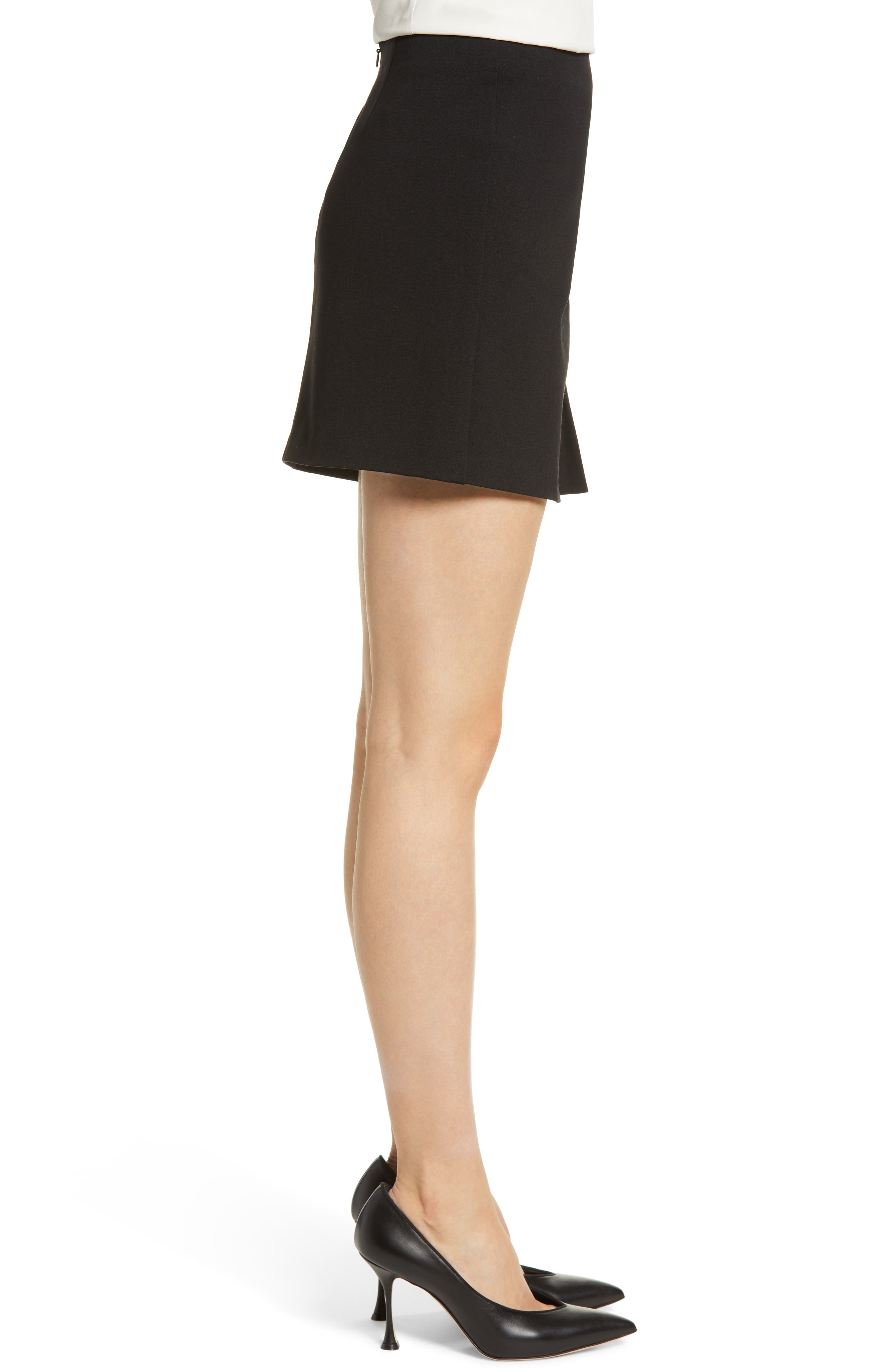 1.STATE,                             Ruched Detail Stretch Ponte Miniskirt,                             Alternate thumbnail 3, color,                             RICH BLACK