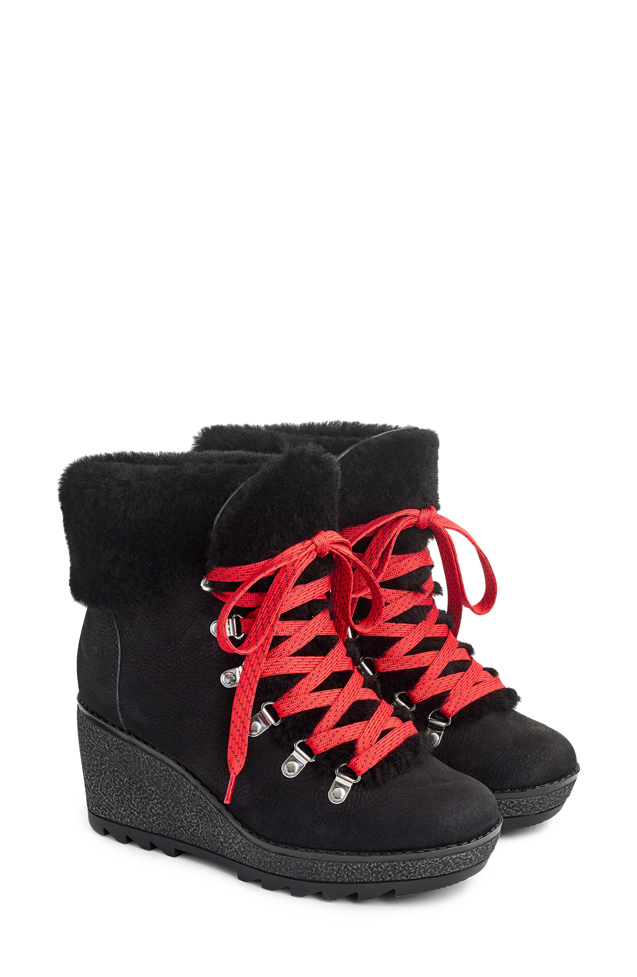 Nordic Wedge Bootie,                             Alternate thumbnail 3, color,                             BLACK LEATHER